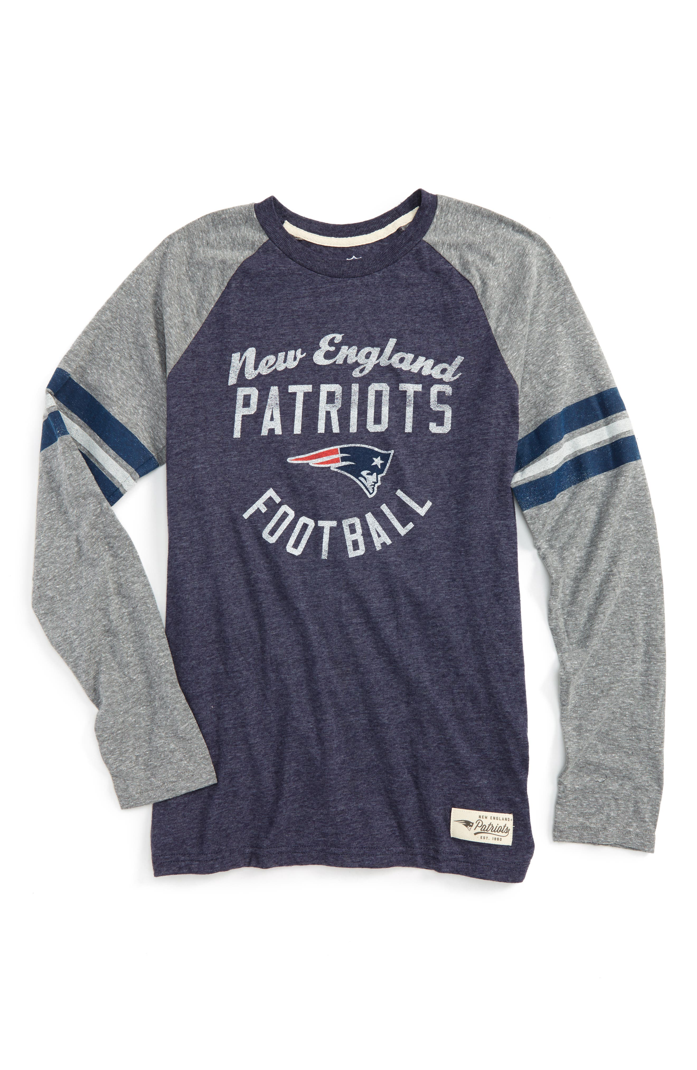 NFL New England Patriots Distressed Logo T-Shirt,                             Main thumbnail 1, color,                             Navy