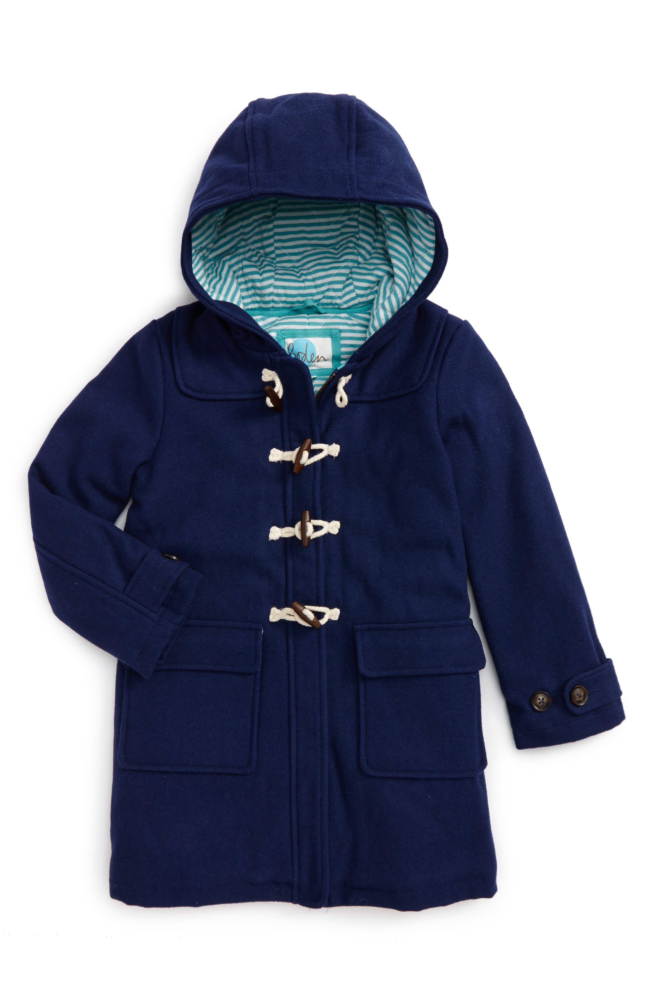 Alternate Image 1 Selected - Mini Boden Hooded Duffle Coat (Toddler Girls, Little Girls & Big Girls)