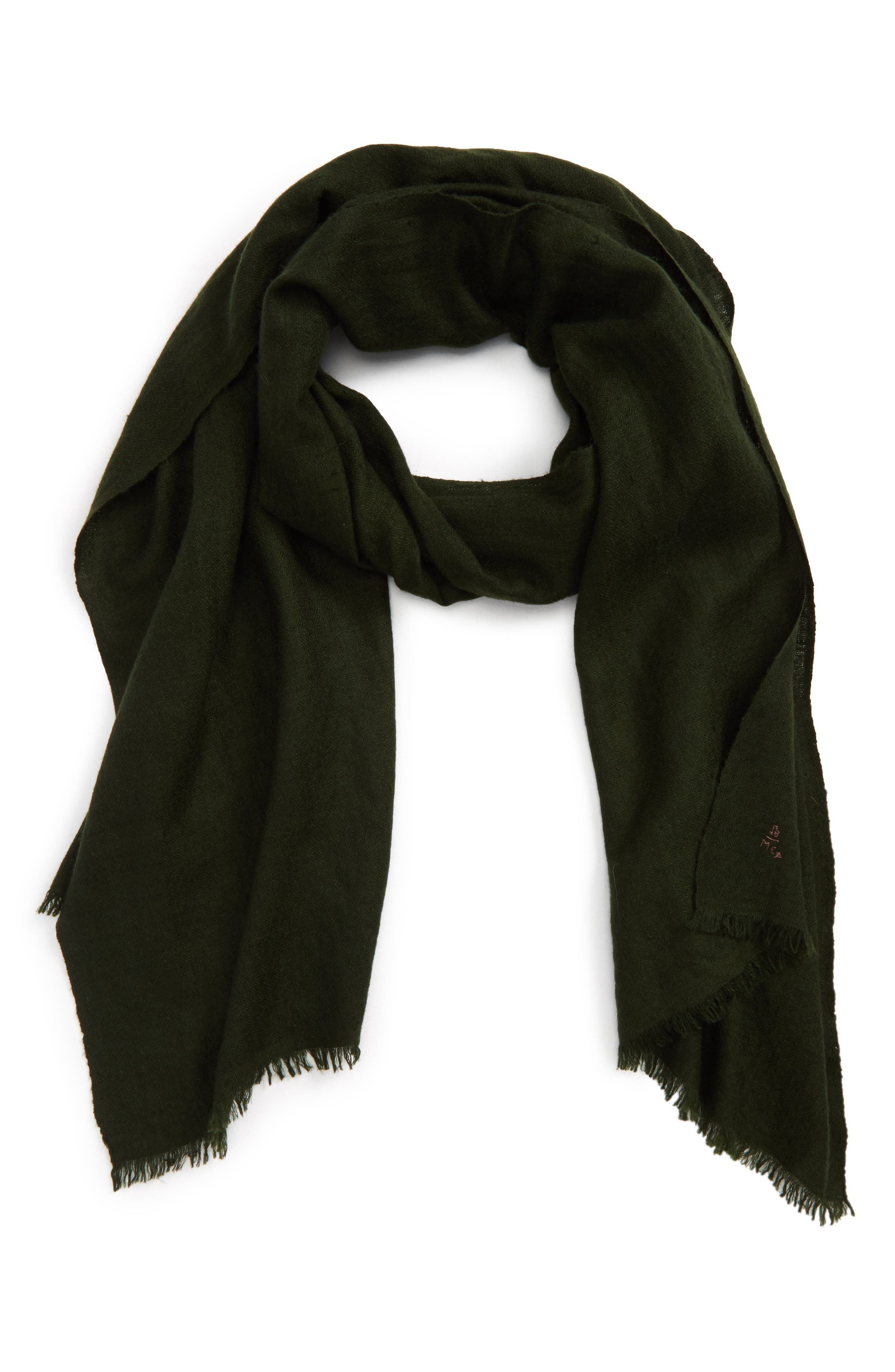 Solid Cashmere Scarf,                         Main,                         color, Green