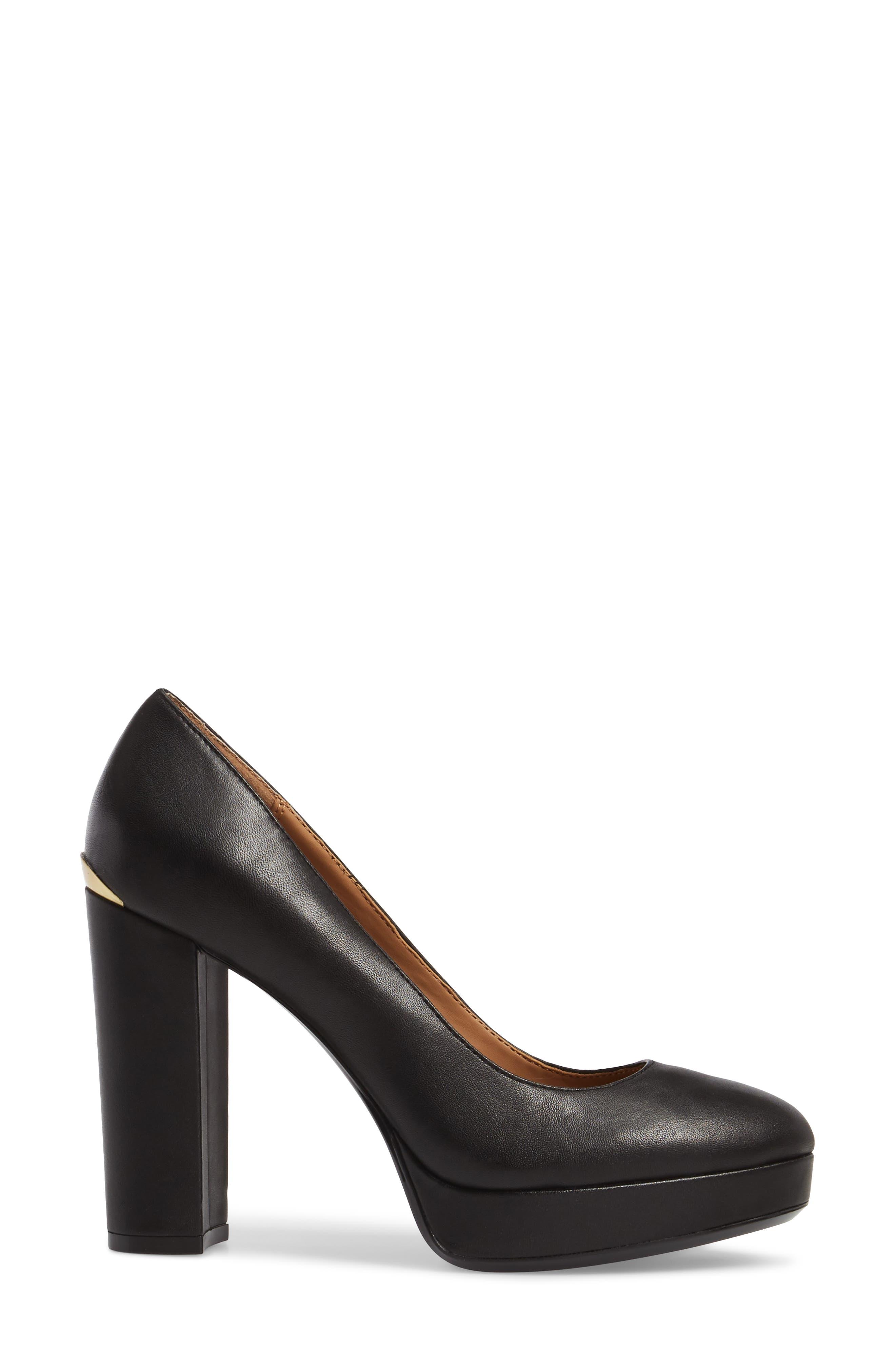Monica Pump,                             Alternate thumbnail 3, color,                             Black Leather