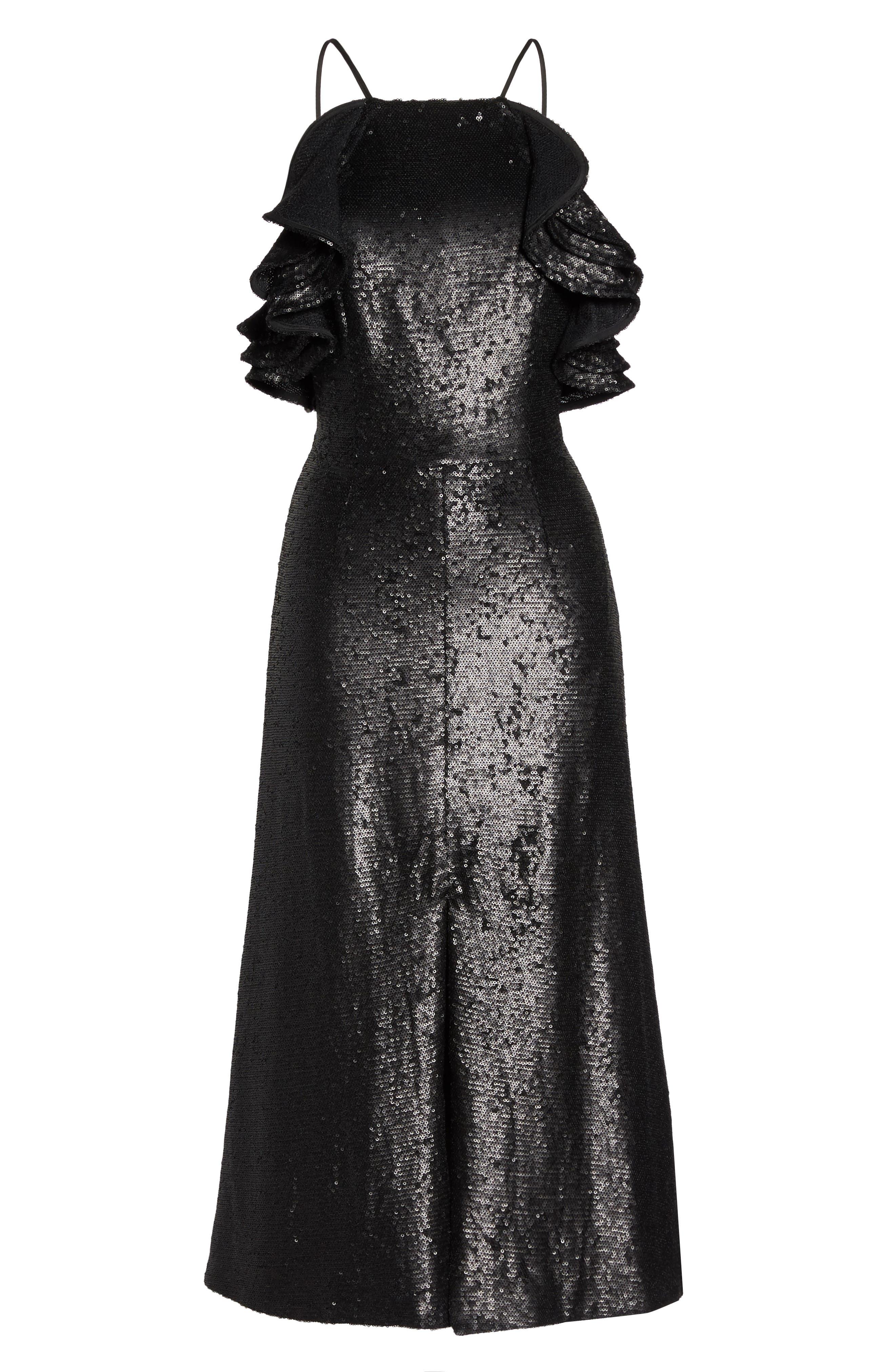 Alternate Image 7  - C/MEO Collective Illuminated Sequin Ruffle Midi Dress (Nordstrom Exclusive)