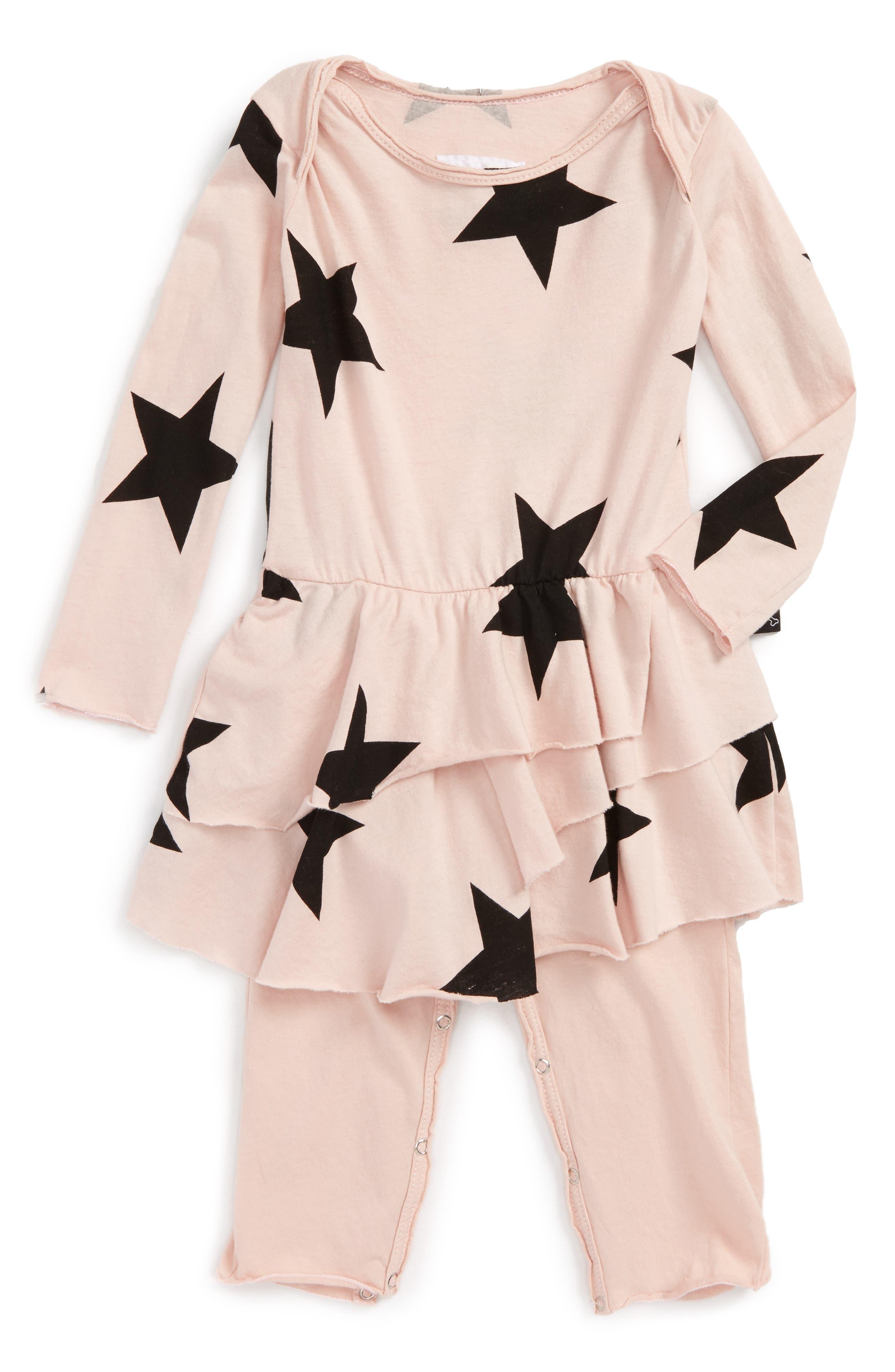 Star Print Romper,                         Main,                         color, Powder Pink