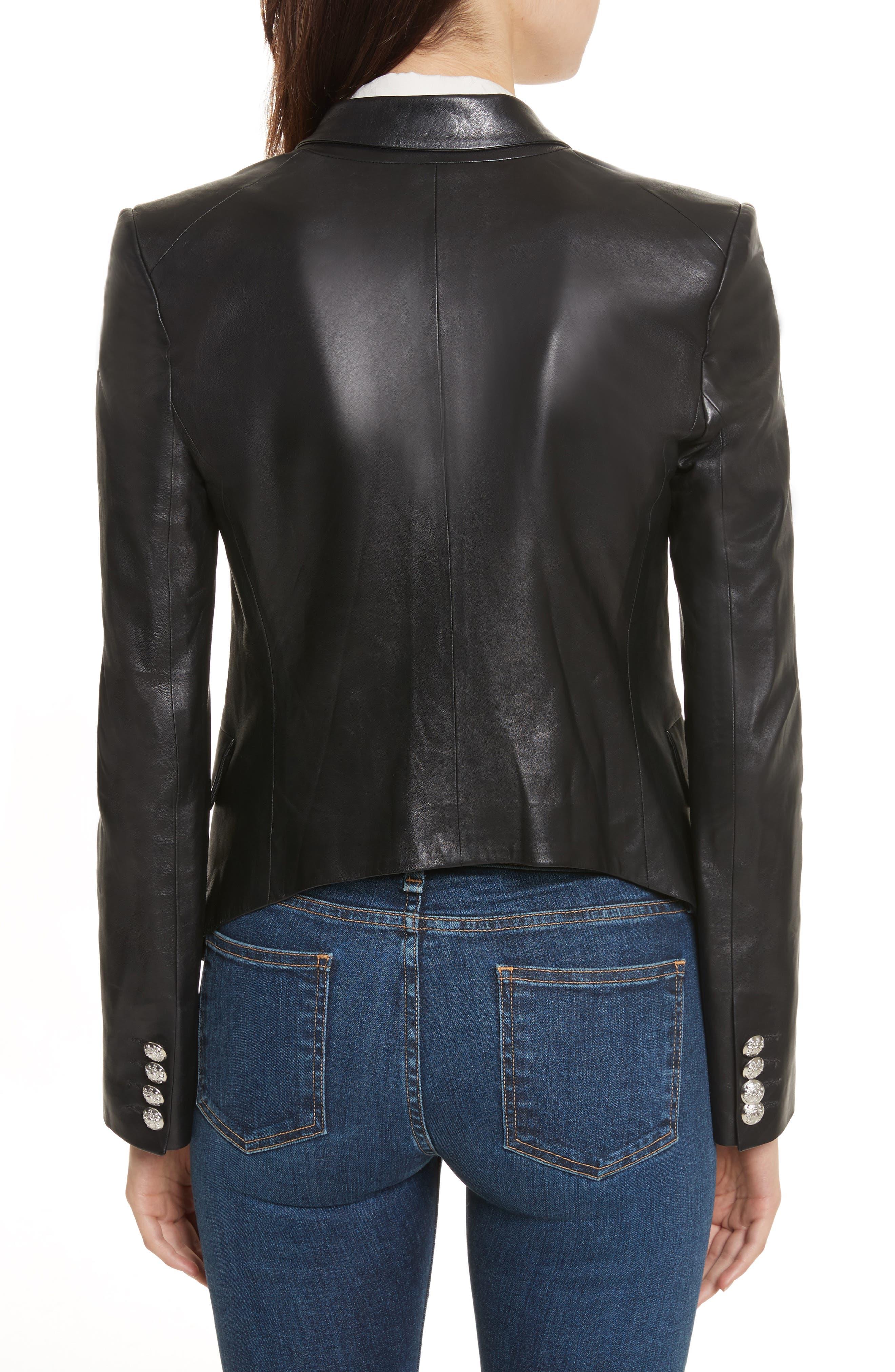 Cooke Leather Jacket,                             Alternate thumbnail 2, color,                             Black