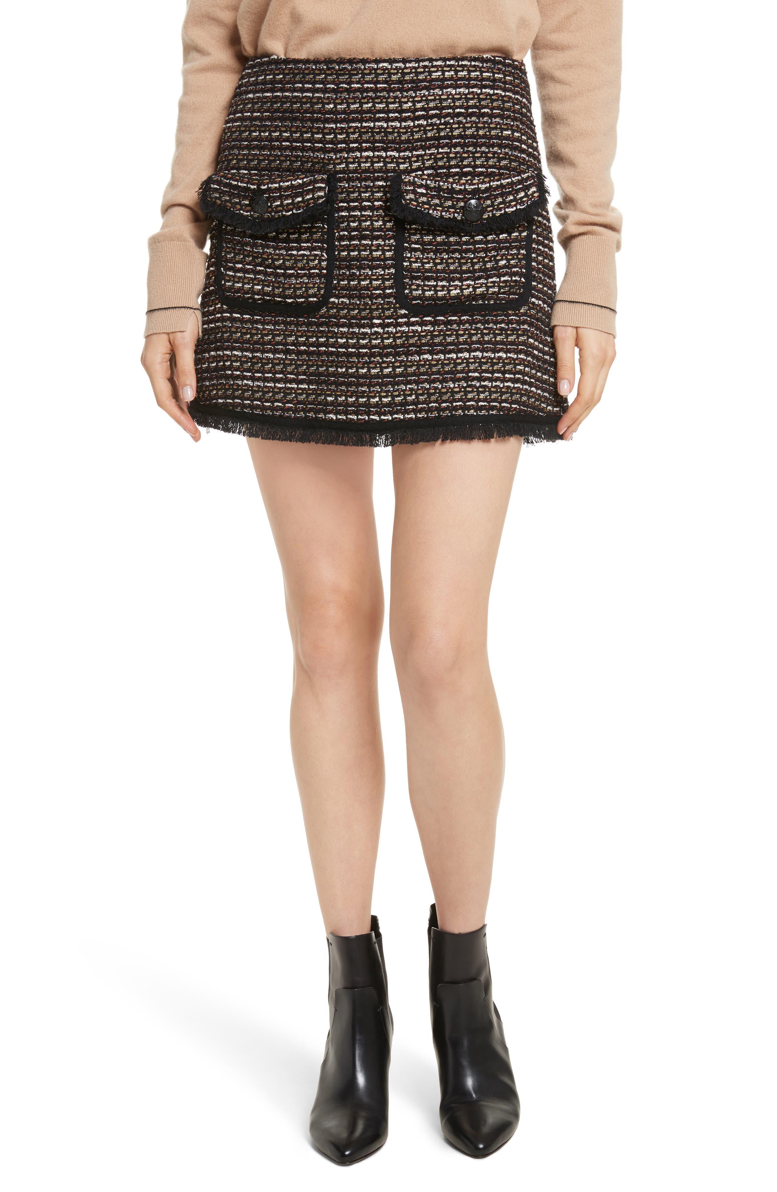Margot Skirt,                             Main thumbnail 1, color,                             Black/ White/ Gold