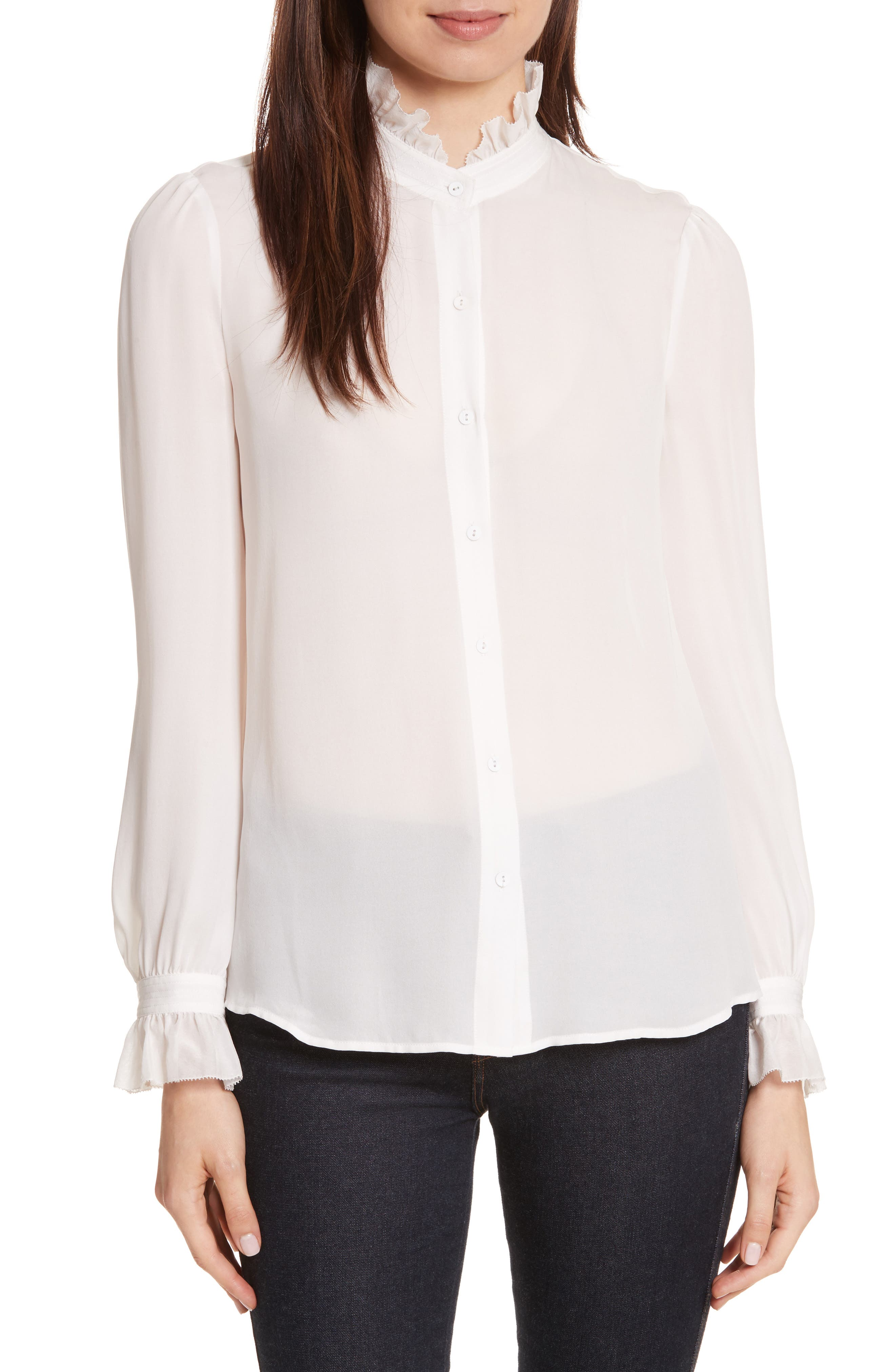 Carla Silk Blouse,                         Main,                         color, Ivory