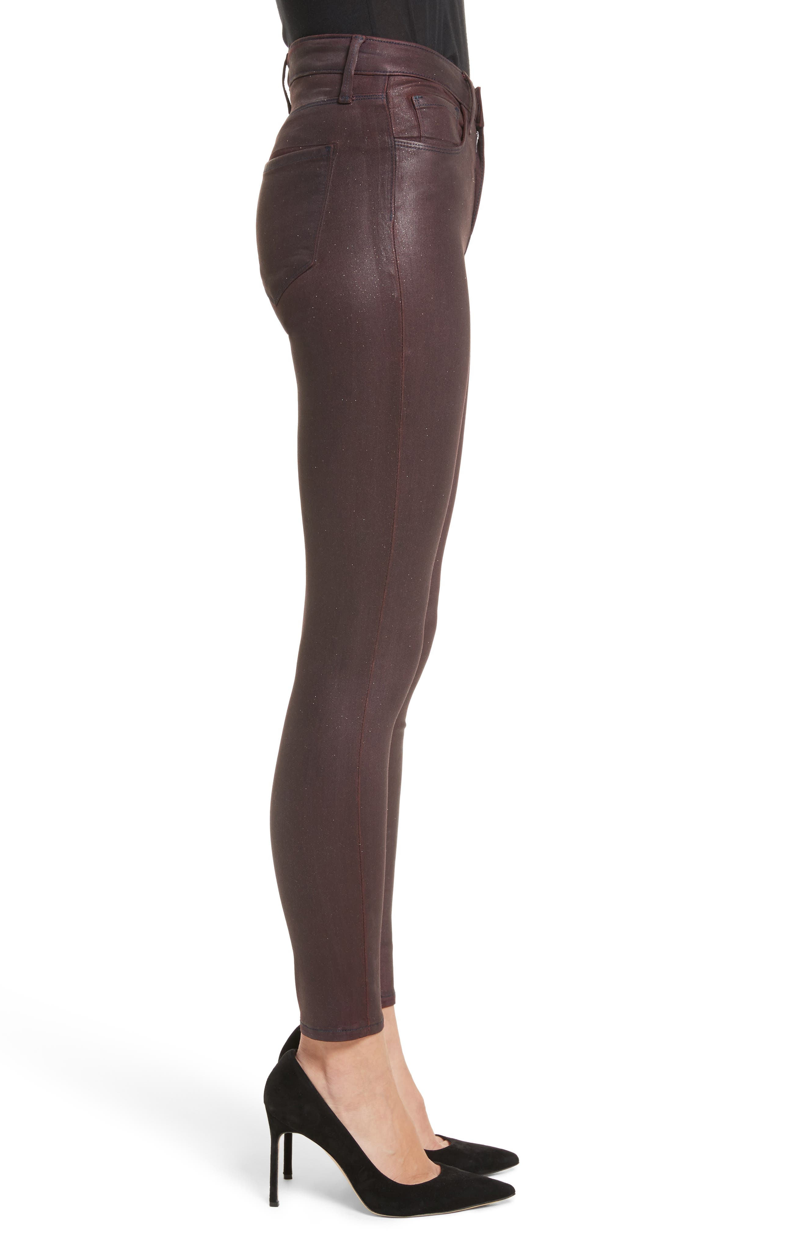 Margot High Waist Glitter Coated Jeans,                             Alternate thumbnail 3, color,                             Bordeaux Glitter Coated