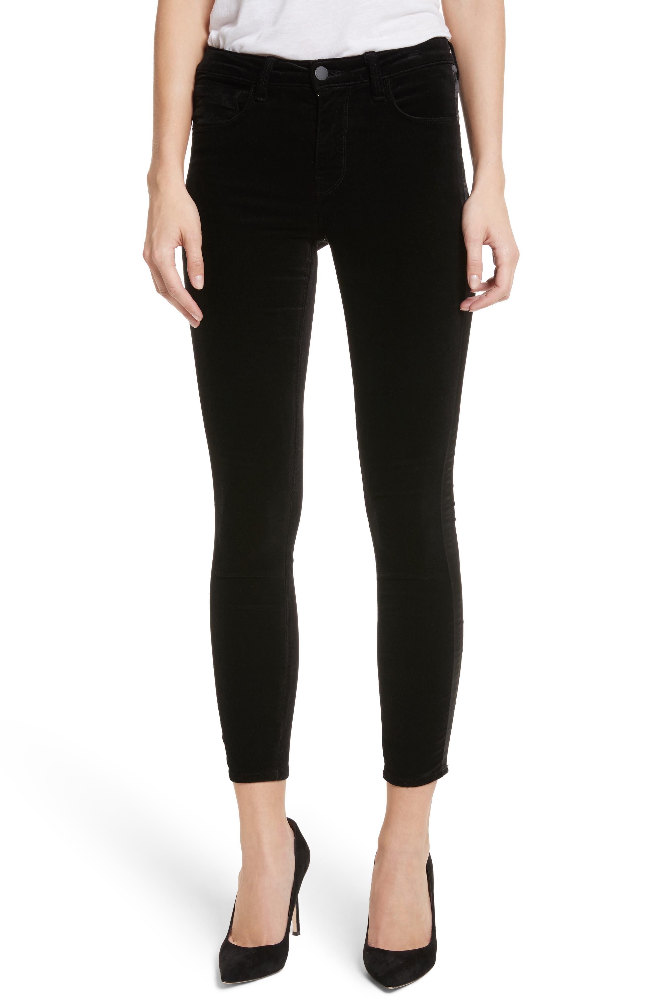L'AGENCE Margot Tuxedo Stripe Velvet Crop Skinny Jeans