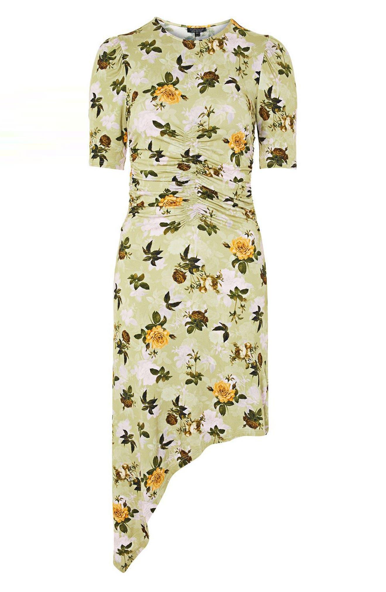 Floral Ruched Asymmetrical Midi Dress,                             Alternate thumbnail 5, color,                             Green Multi