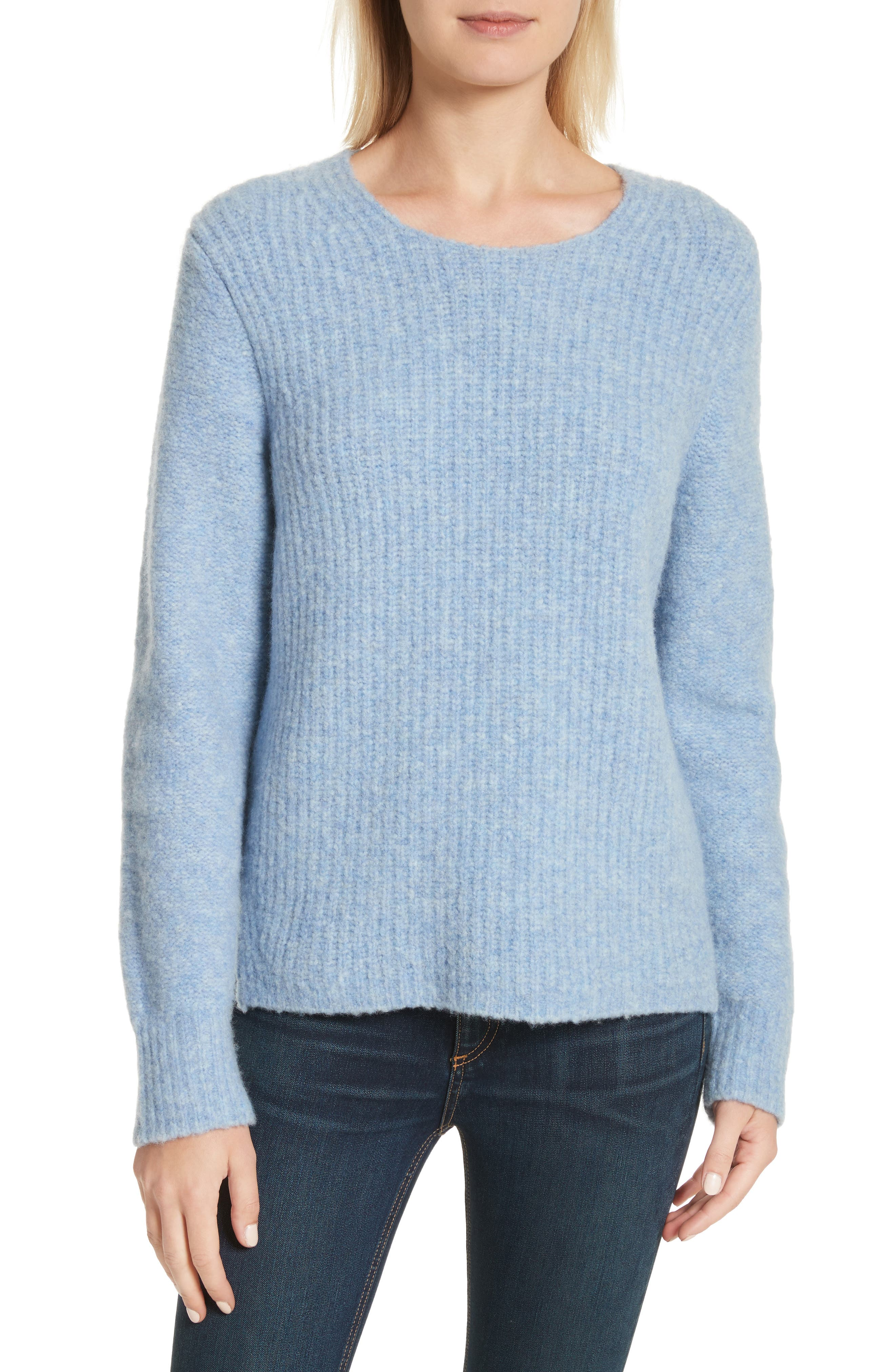 Francie Merino Wool Blend Sweater,                             Main thumbnail 1, color,                             Light Blue