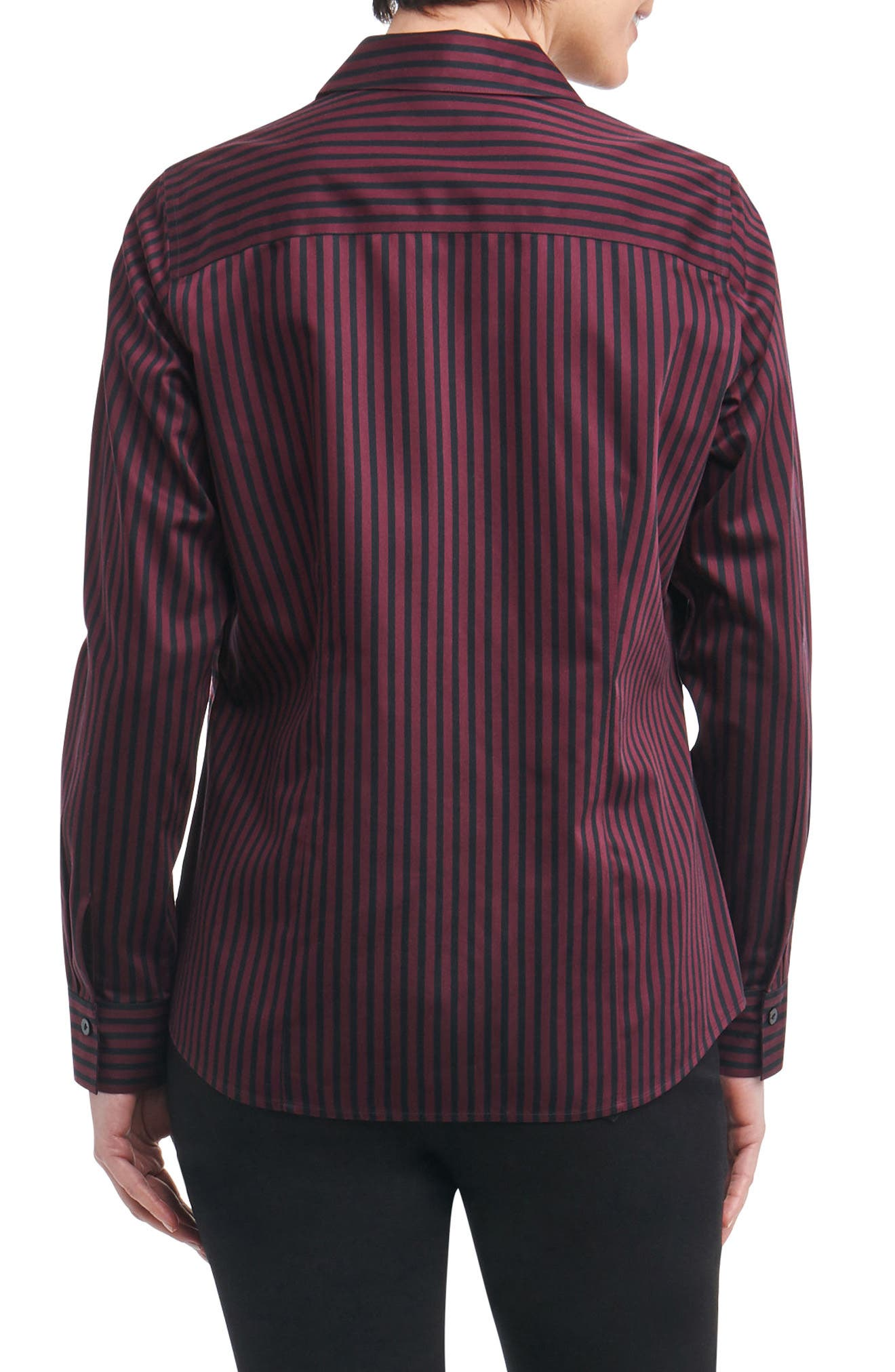 Ellen Non-Iron Stripe Sateen Shirt,                             Alternate thumbnail 2, color,                             Port