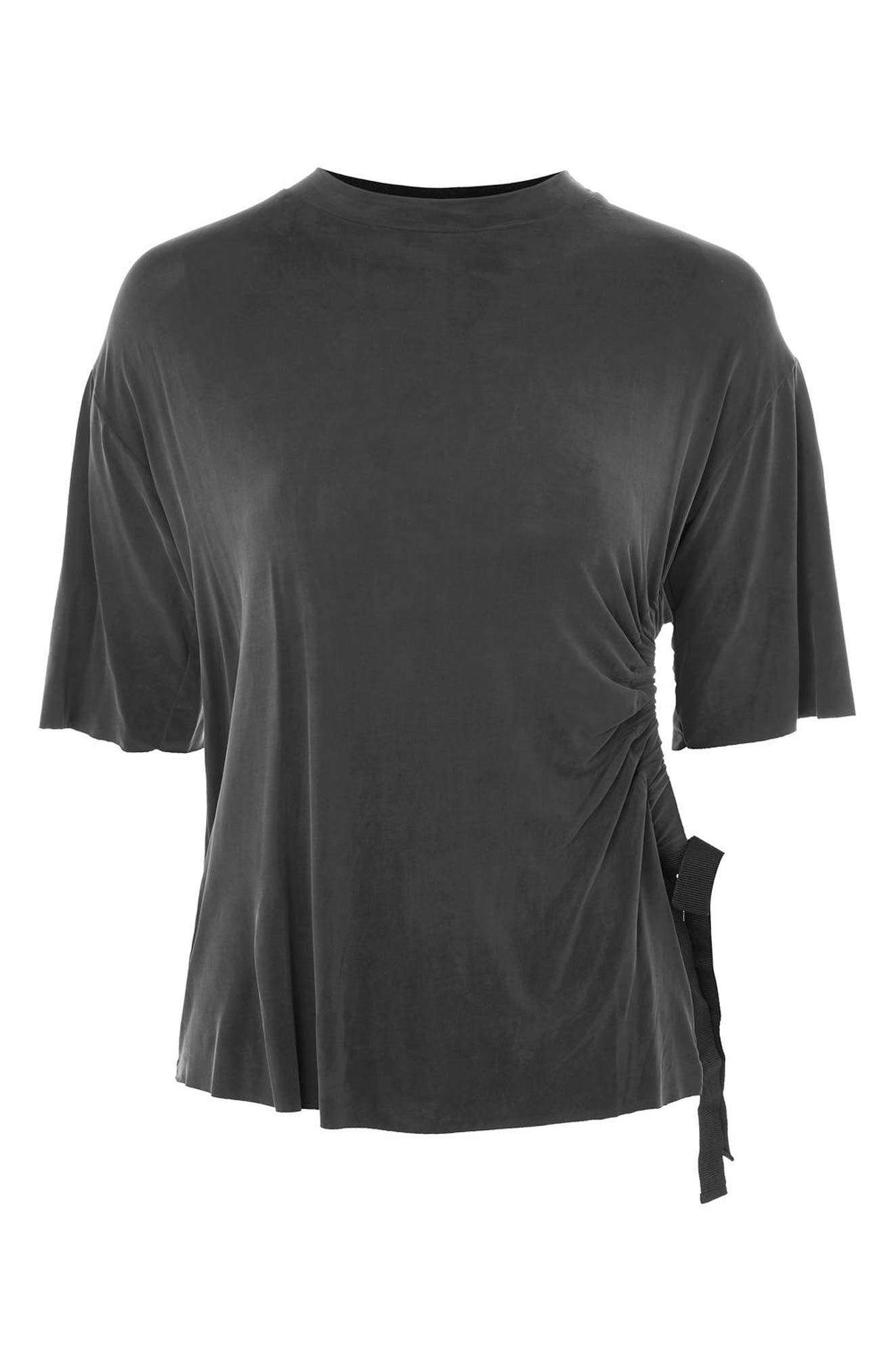 Ruched Cutout Tee,                         Main,                         color, Black