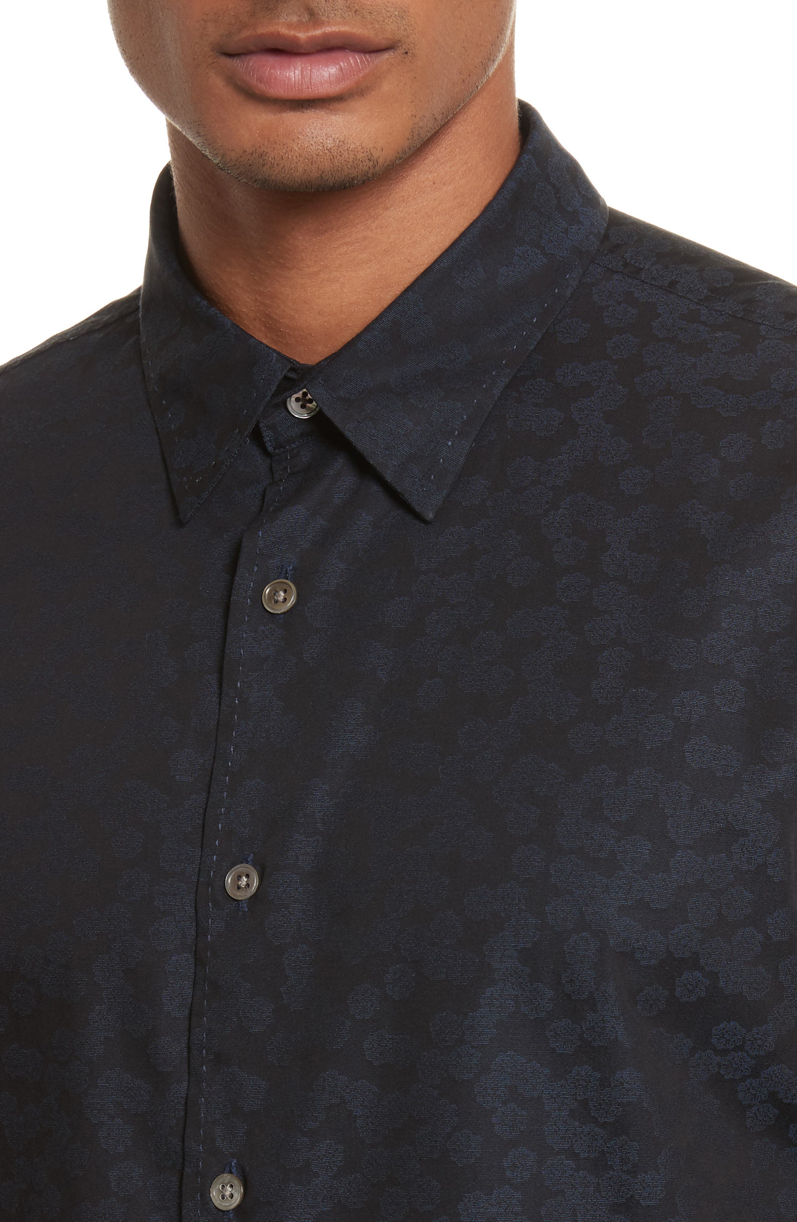 Alternate Image 5  - John Varvatos Collection Classic Fit Jacquard Shirt