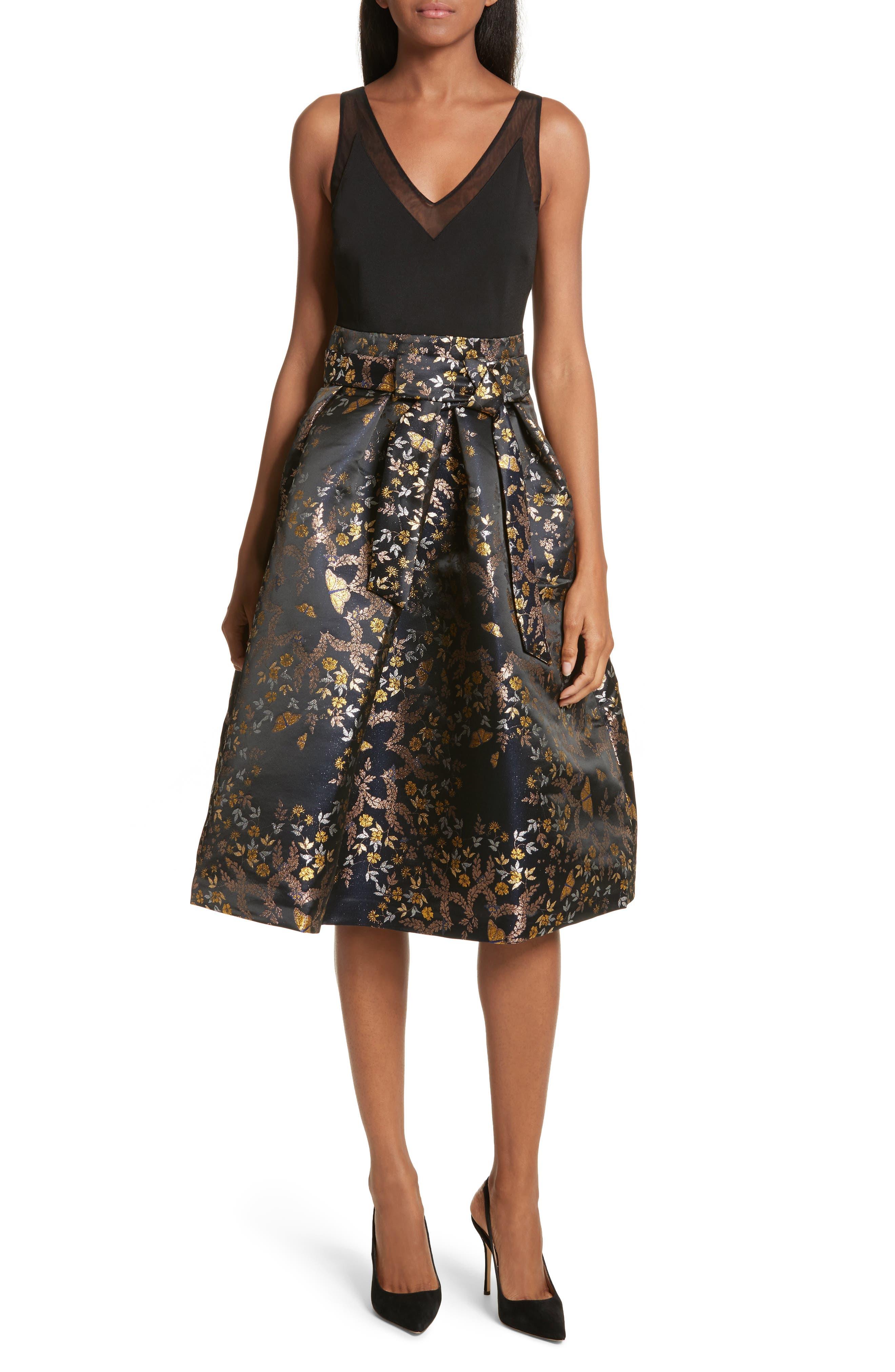 Dotalle Kyoto Garden Jacquard Midi Dress,                             Main thumbnail 1, color,                             Black