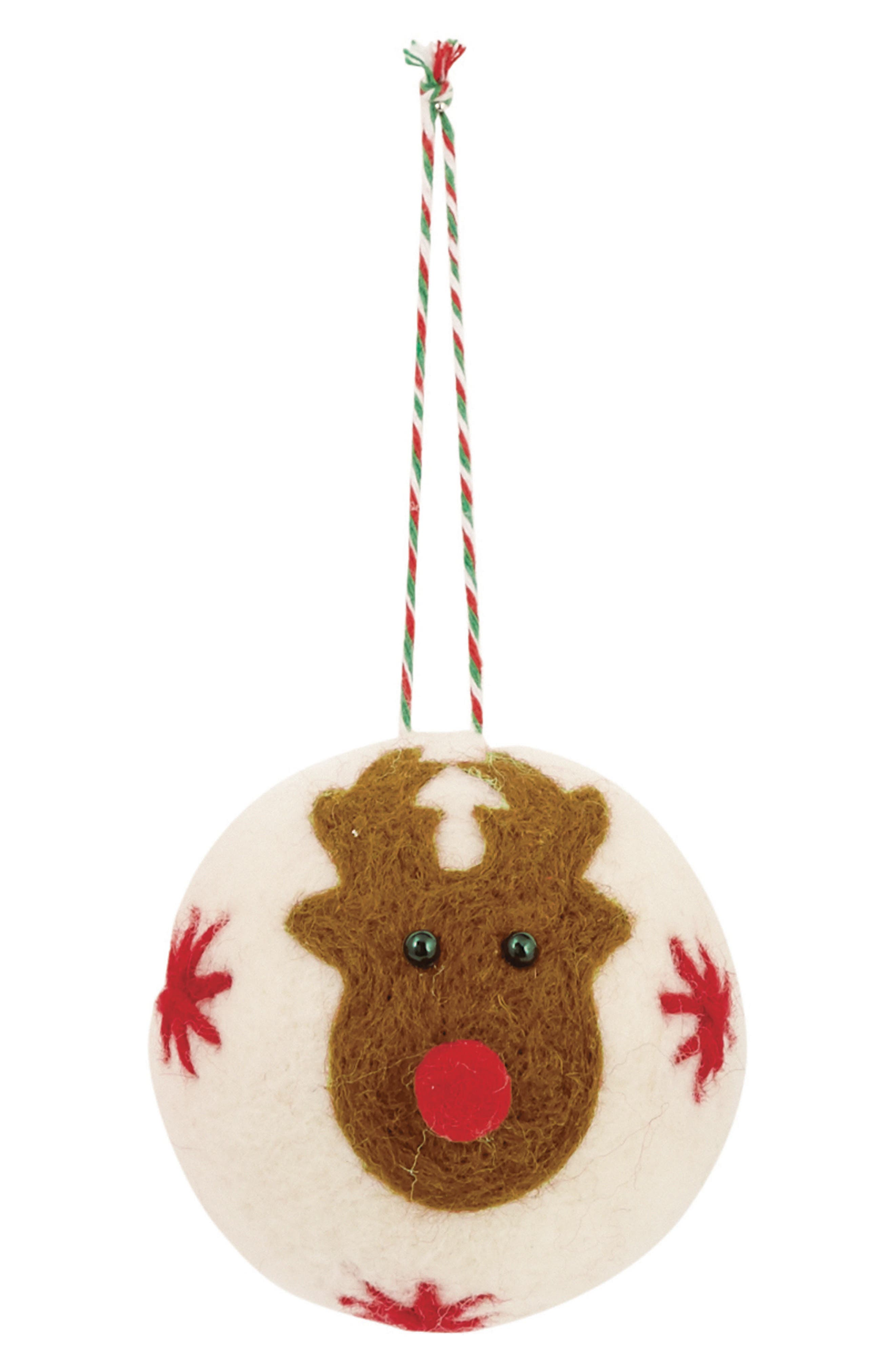 Boiled Wool Reindeer Ornament,                         Main,                         color, White