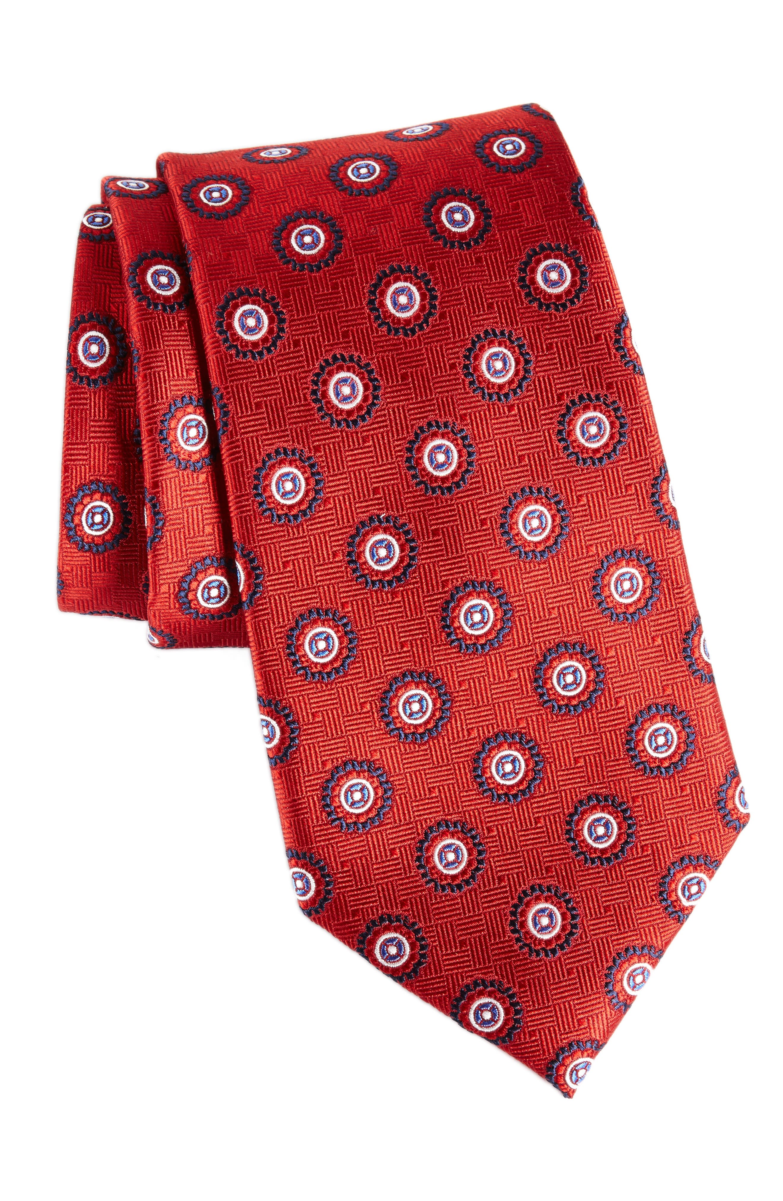 Nordstrom Men's Shop Neat Medallion Silk Tie (X-Long)