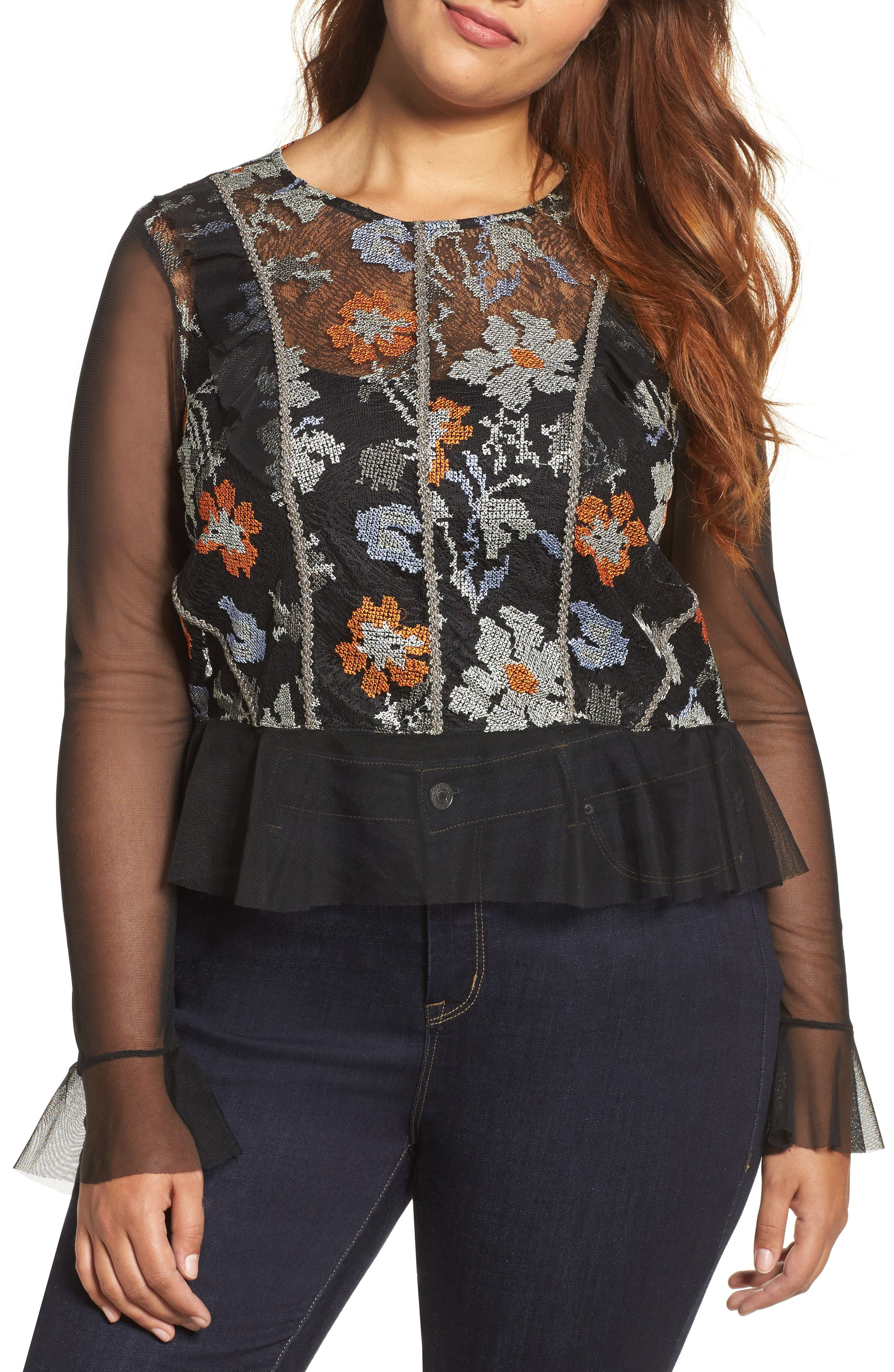 Main Image - ELVI Abstract Floral Lace Top (Plus Size)