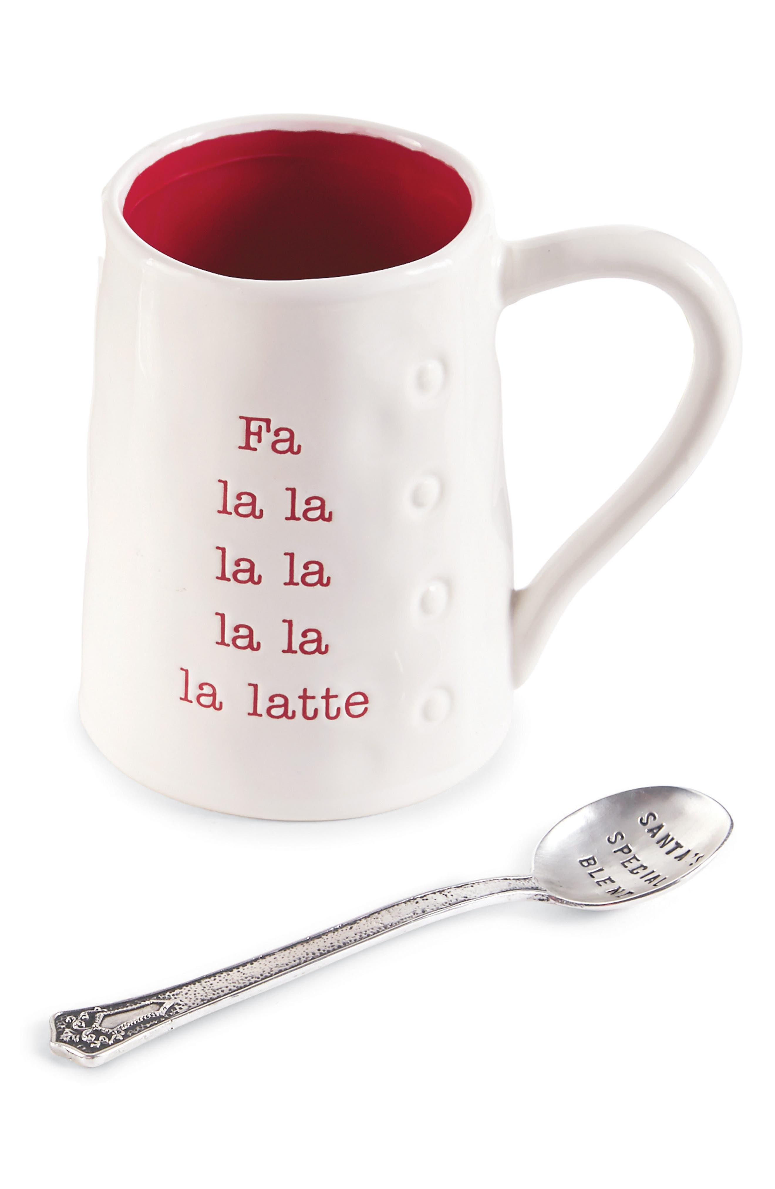 Fa La Latte Ceramic Mug & Spoon,                         Main,                         color, White