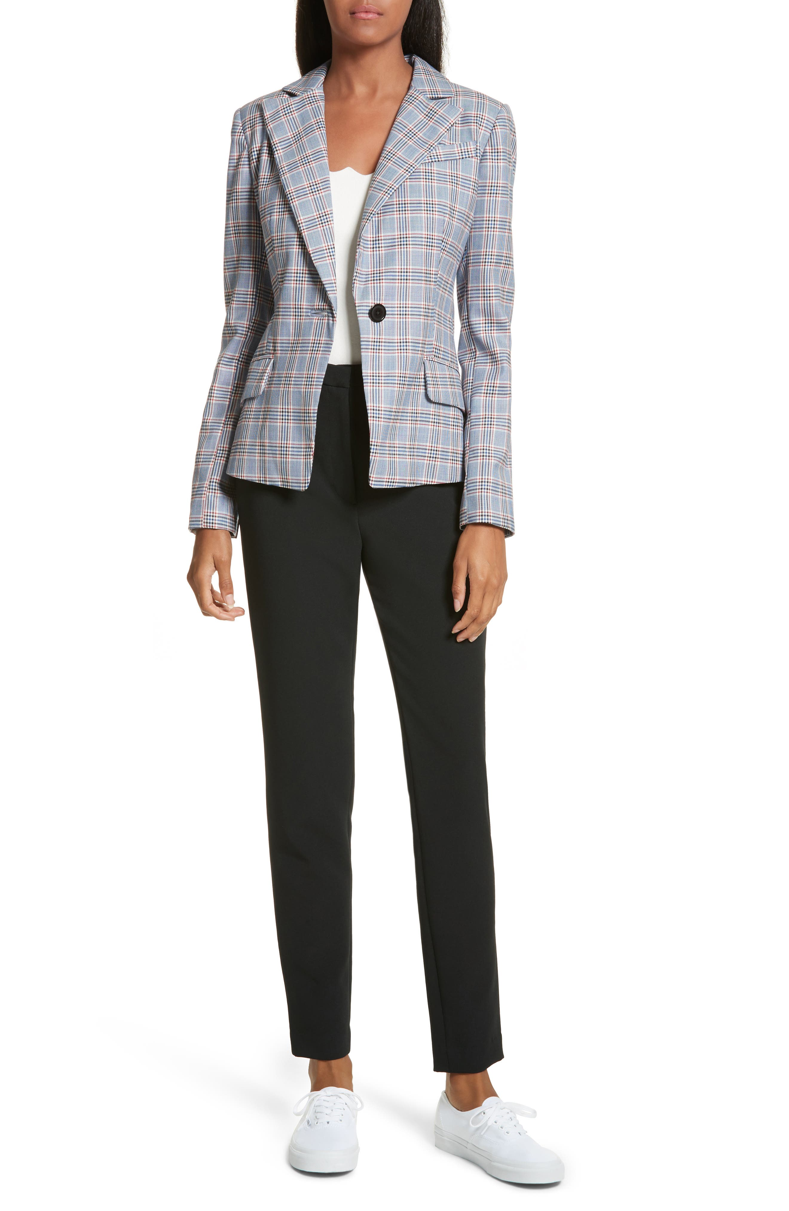 Check Suiting Belted Blazer,                             Alternate thumbnail 7, color,                             Multi