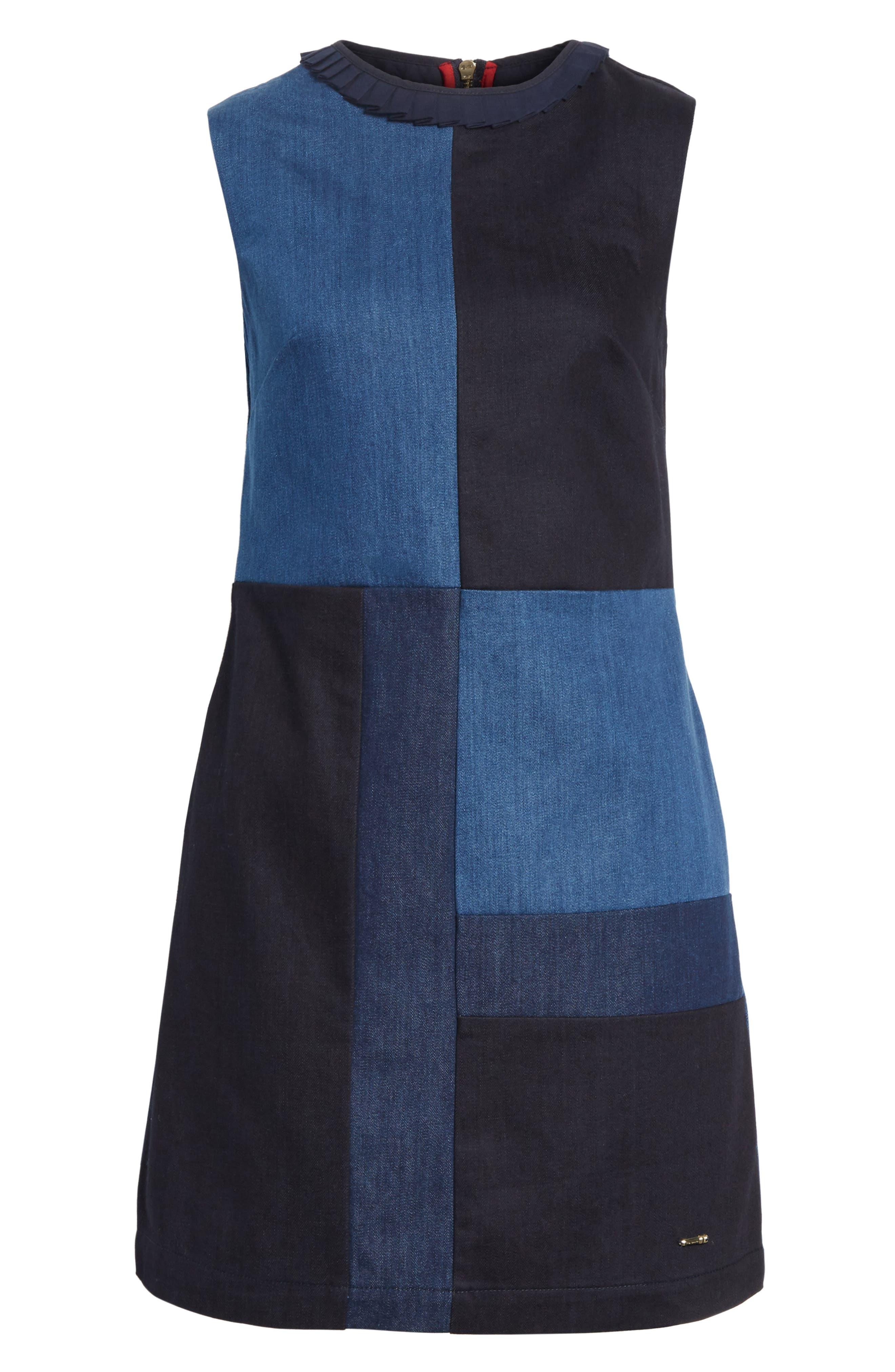 Ted Baker Morfee London Colorblock Denim A-Line Dress,                             Alternate thumbnail 6, color,                             Mid Wash