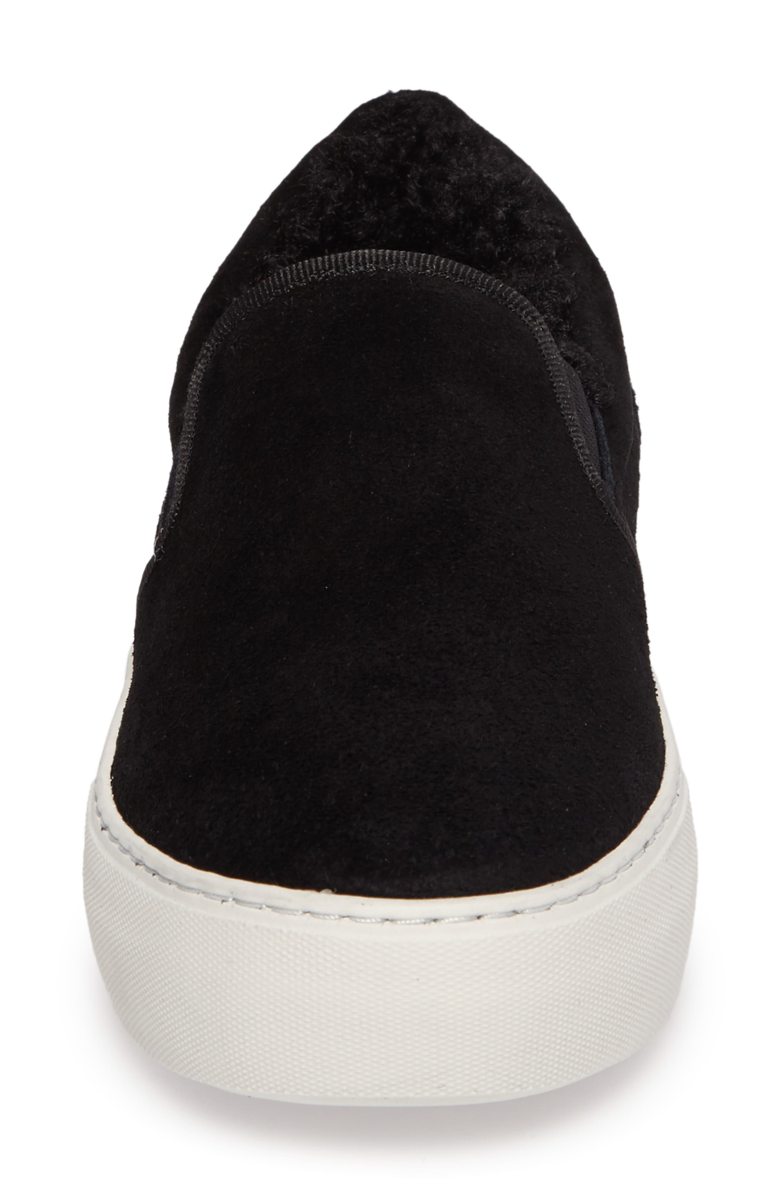 Arpel Faux Fur Lined Slip-On Sneaker,                             Alternate thumbnail 4, color,                             Black Suede