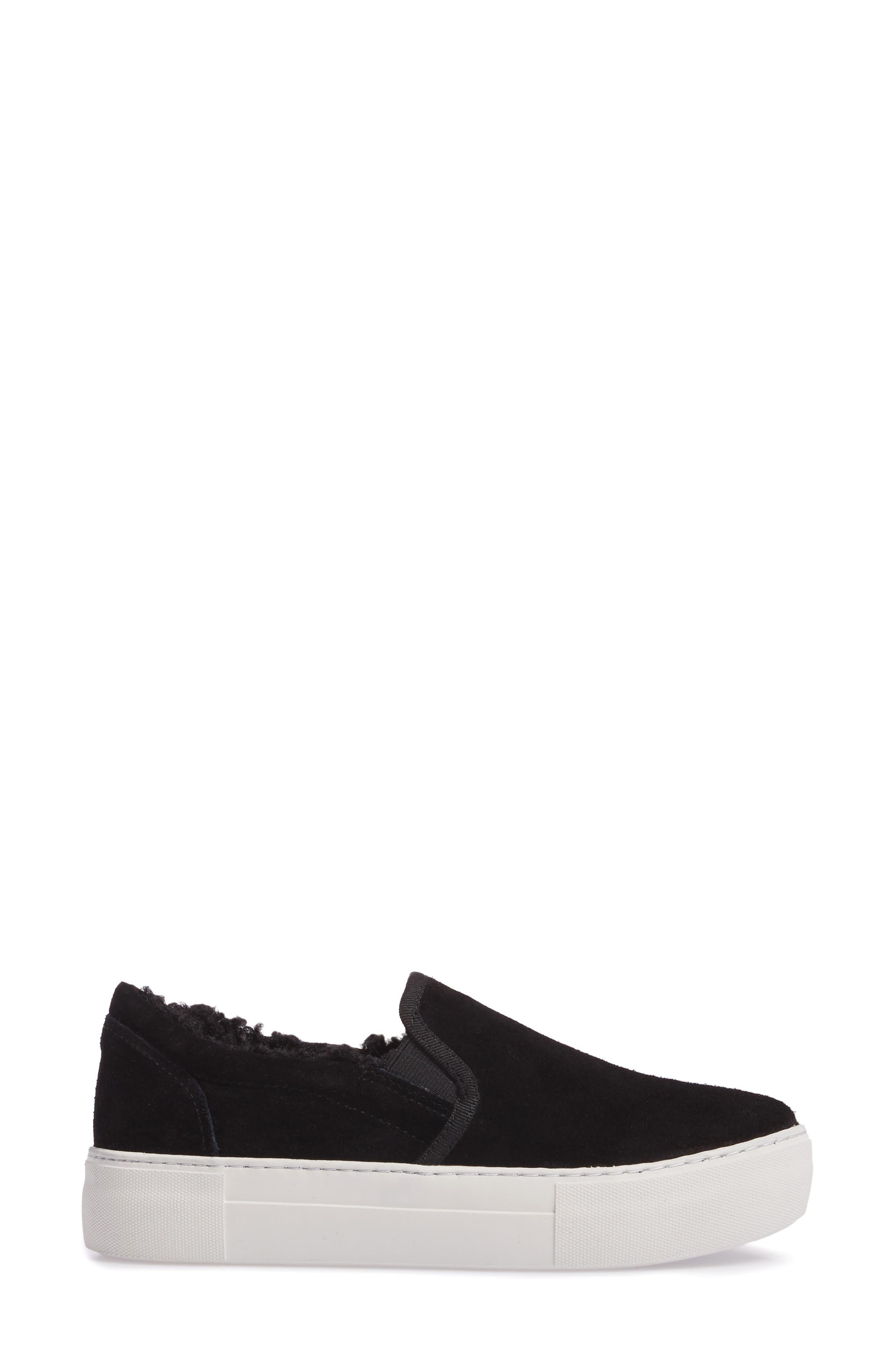 Arpel Faux Fur Lined Slip-On Sneaker,                             Alternate thumbnail 3, color,                             Black Suede