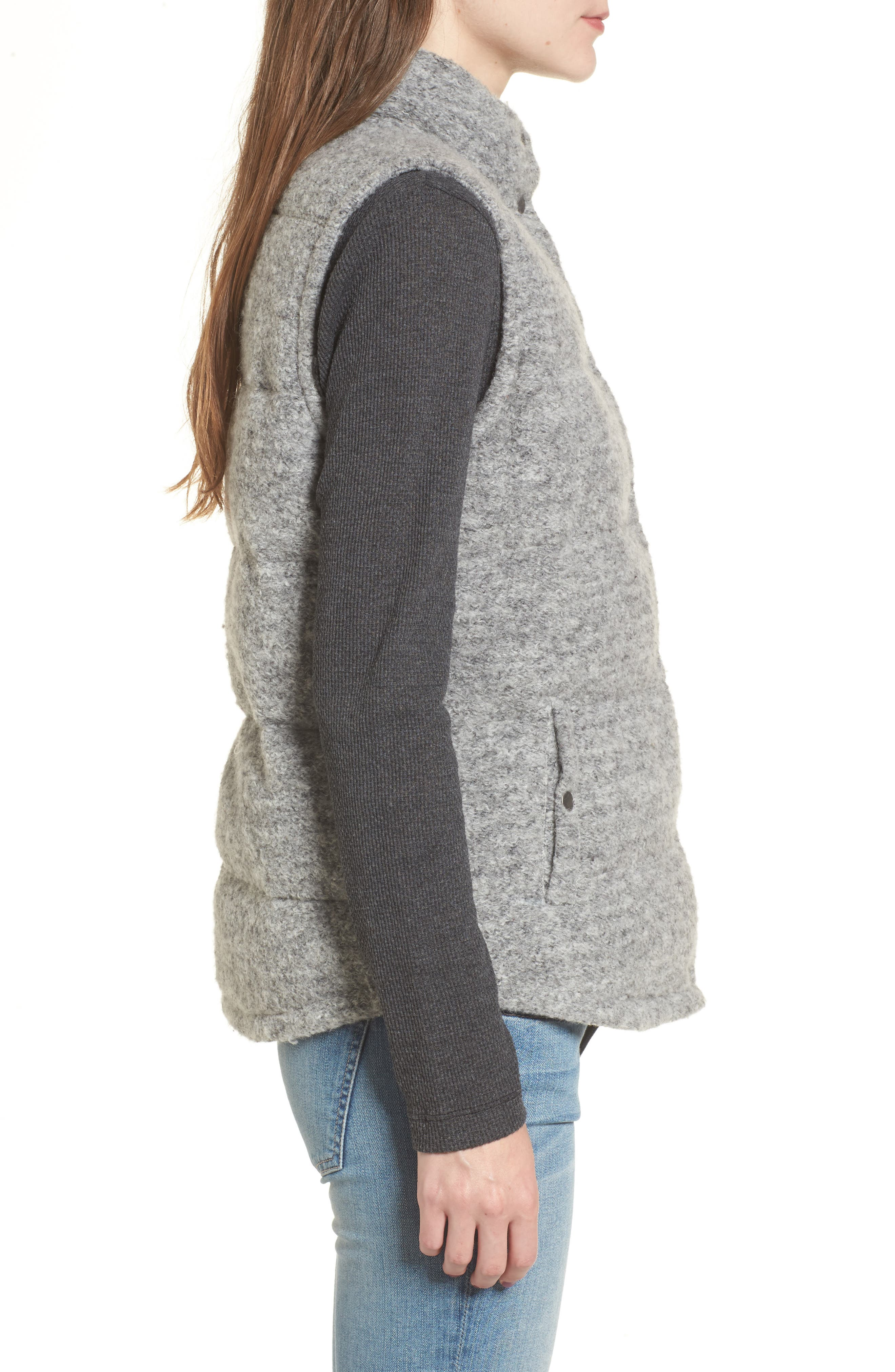 Aderyn Knit Puffer Vest,                             Alternate thumbnail 3, color,                             Heather Grey