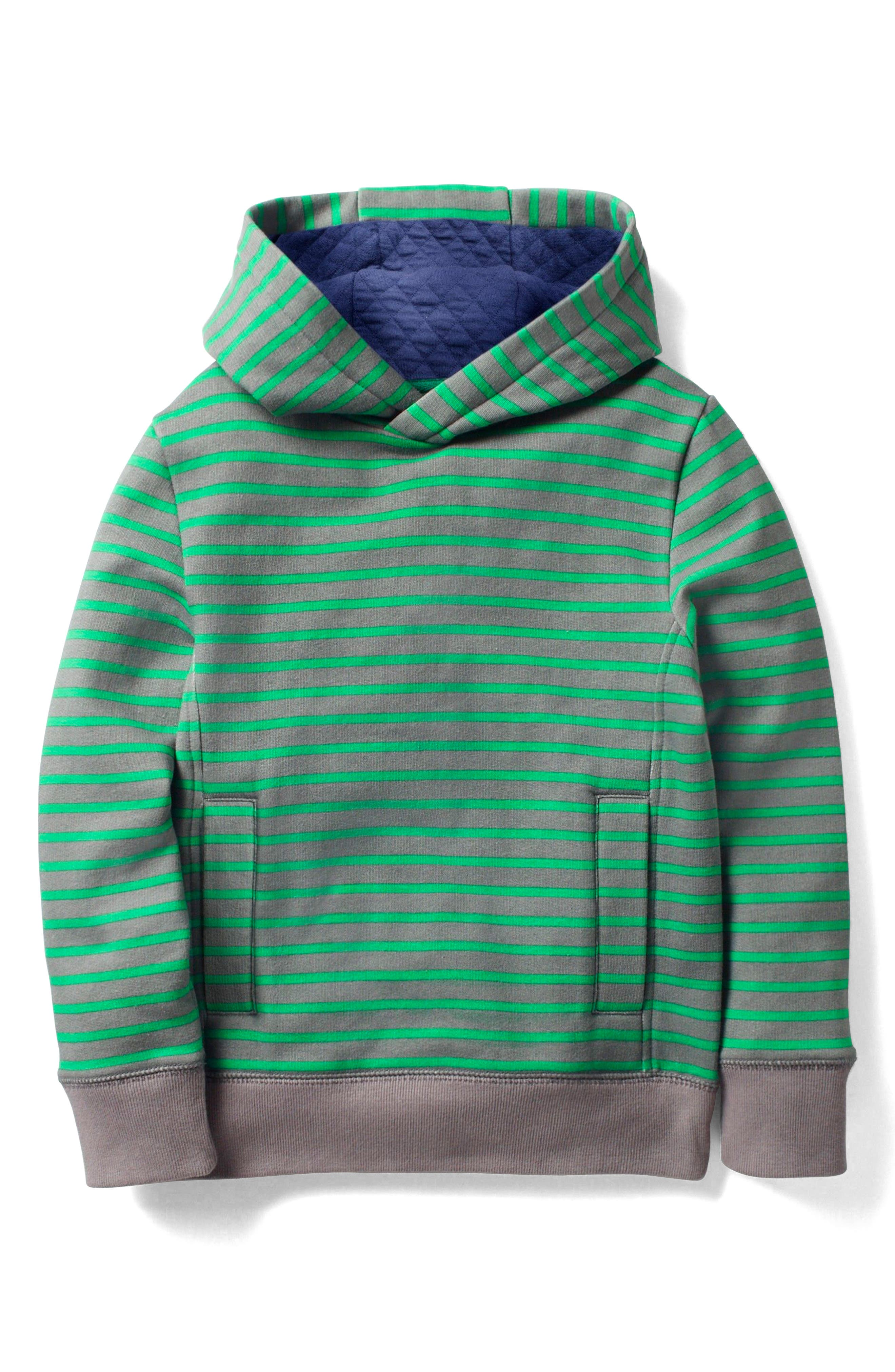 Stripe Pullover Hoodie,                         Main,                         color, Grey Marl/ Astro Green