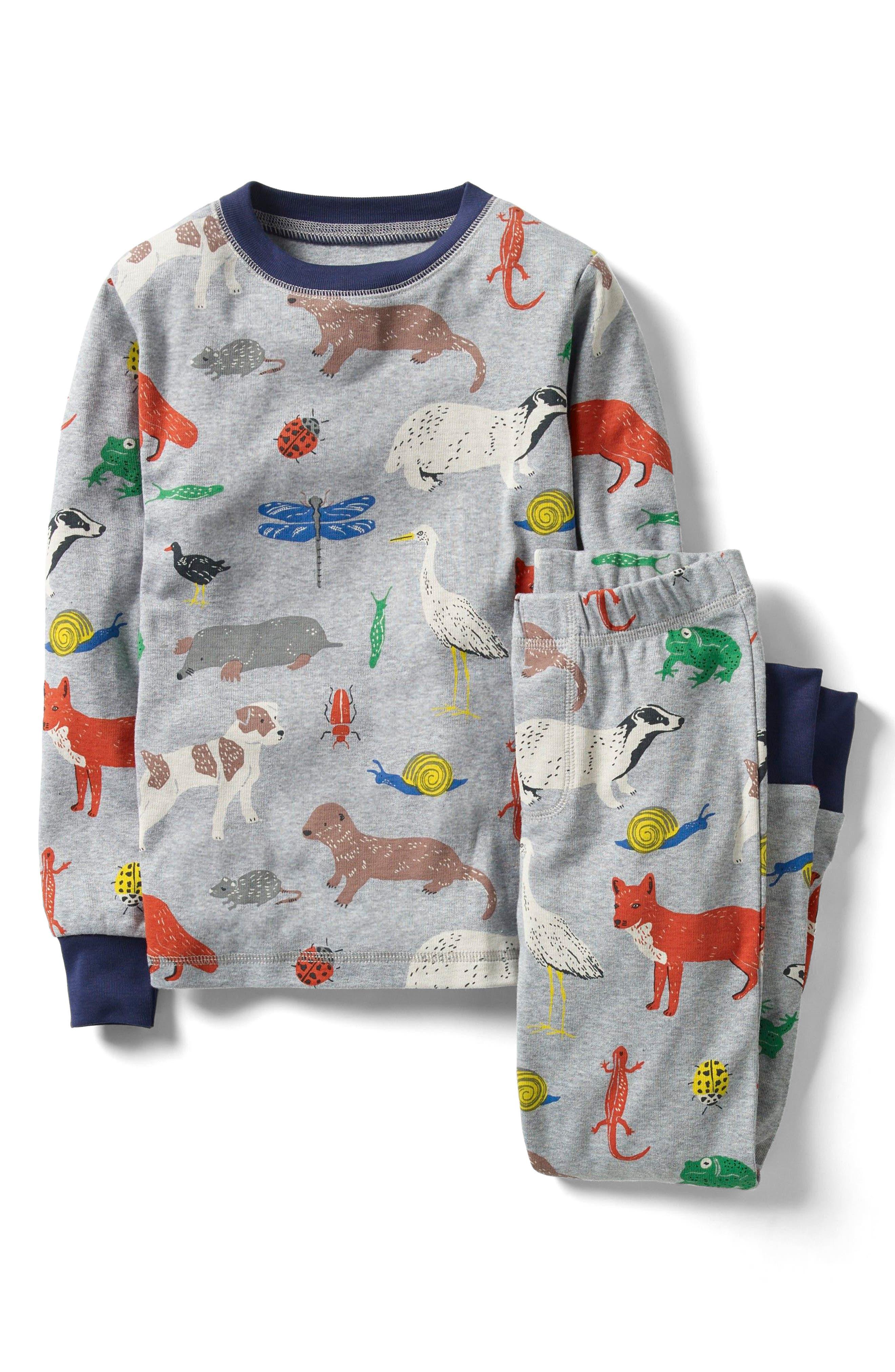 Cosy Long Johns Fitted Two-Piece Pajamas,                             Main thumbnail 1, color,                             Grey Marl River Folk