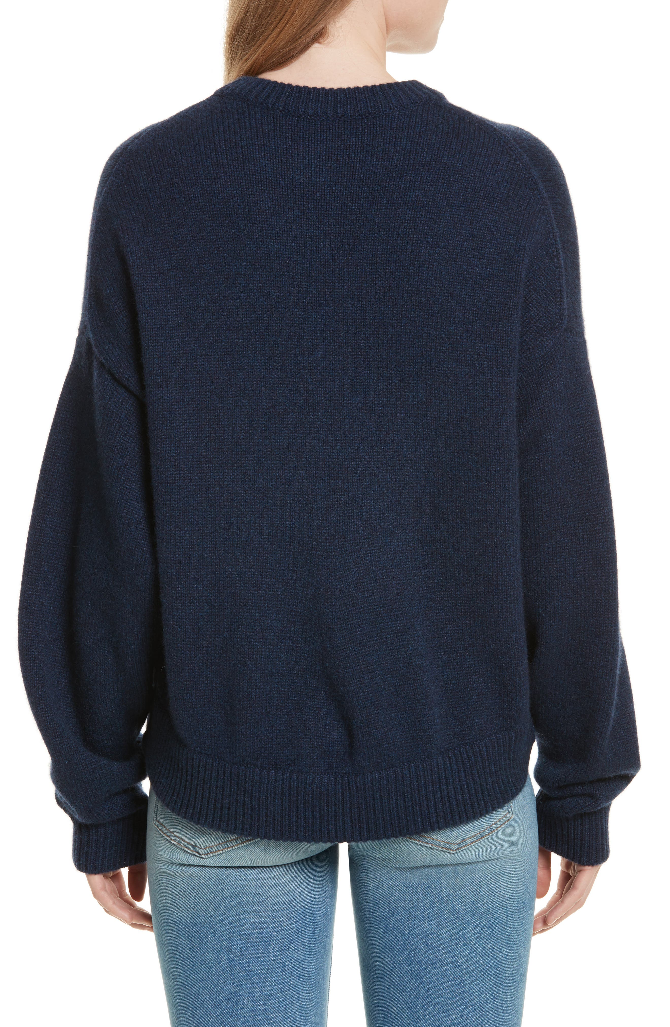 Sculpted Sleeve High/Low Cashmere Sweater,                             Alternate thumbnail 2, color,                             Navy