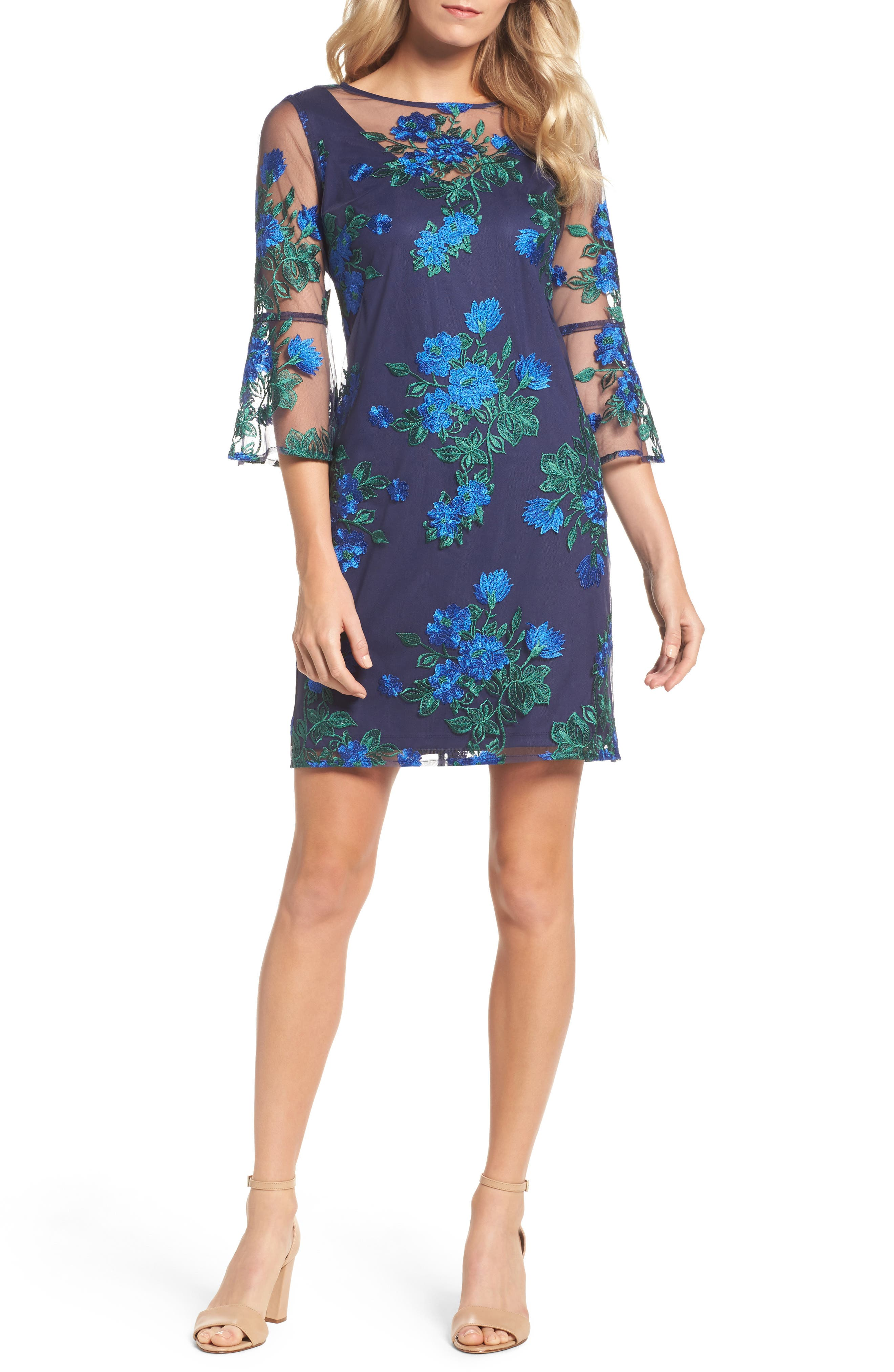 Bell Sleeve Lace Sheath Dress,                         Main,                         color, Navy/ Lapis