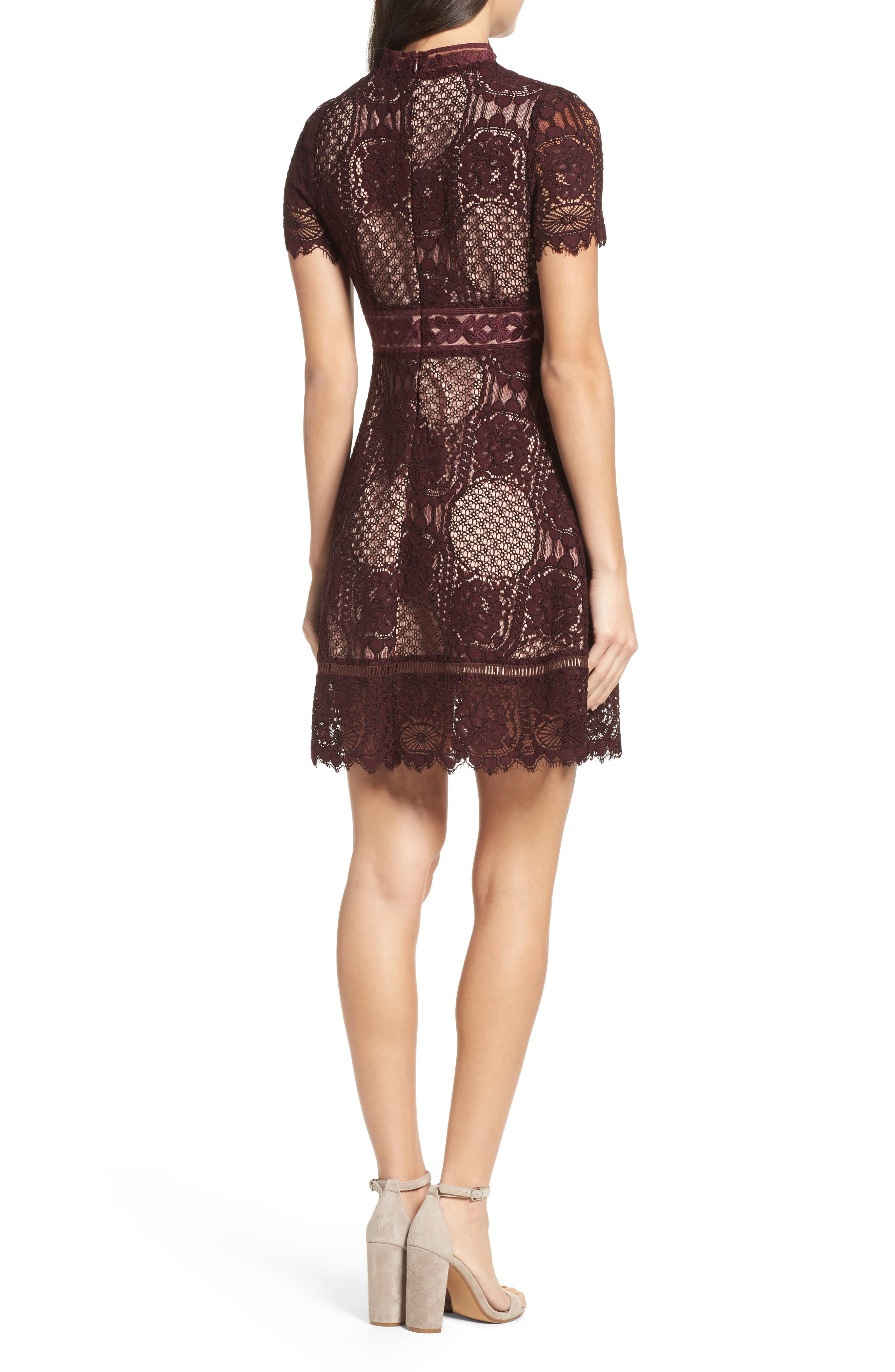 Lace Fit & Flare Dress,                             Alternate thumbnail 2, color,                             Fig