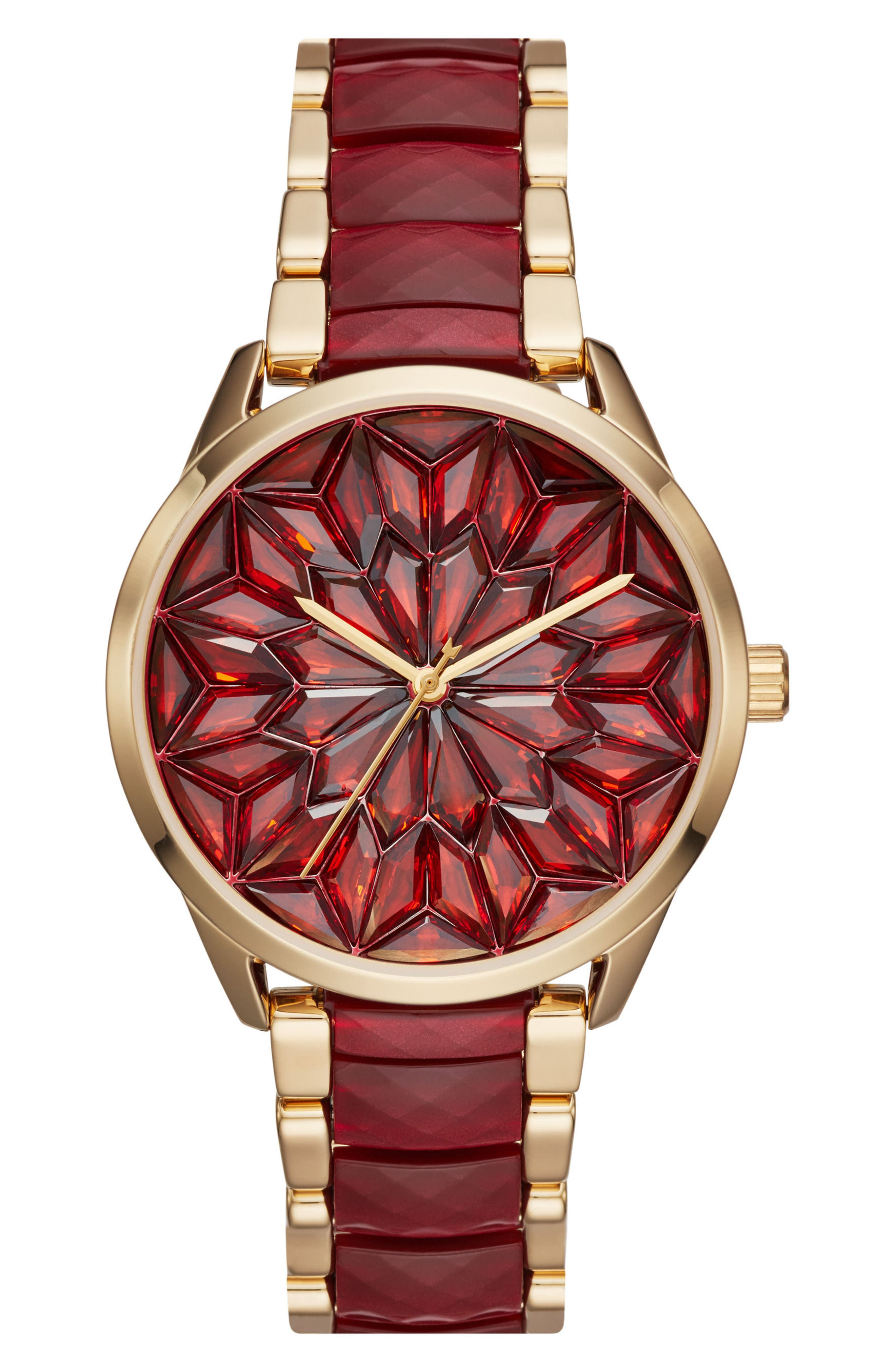Slater Jewel Dial Bracelet Watch, 40mm,                             Main thumbnail 1, color,                             Gold/ Red/ Gold