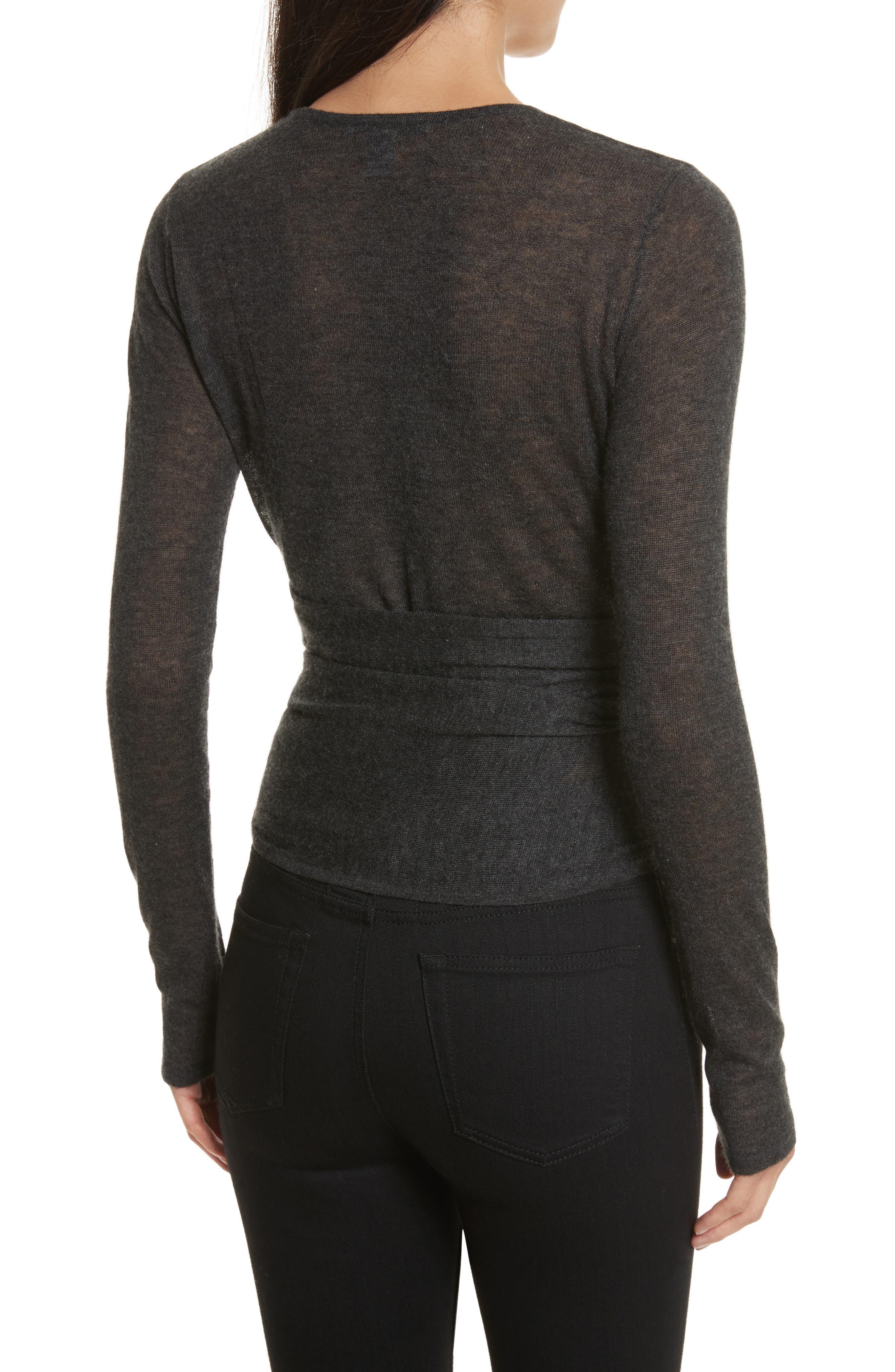 Cashmere Wrap Ballet Sweater,                             Alternate thumbnail 2, color,                             Charcoal