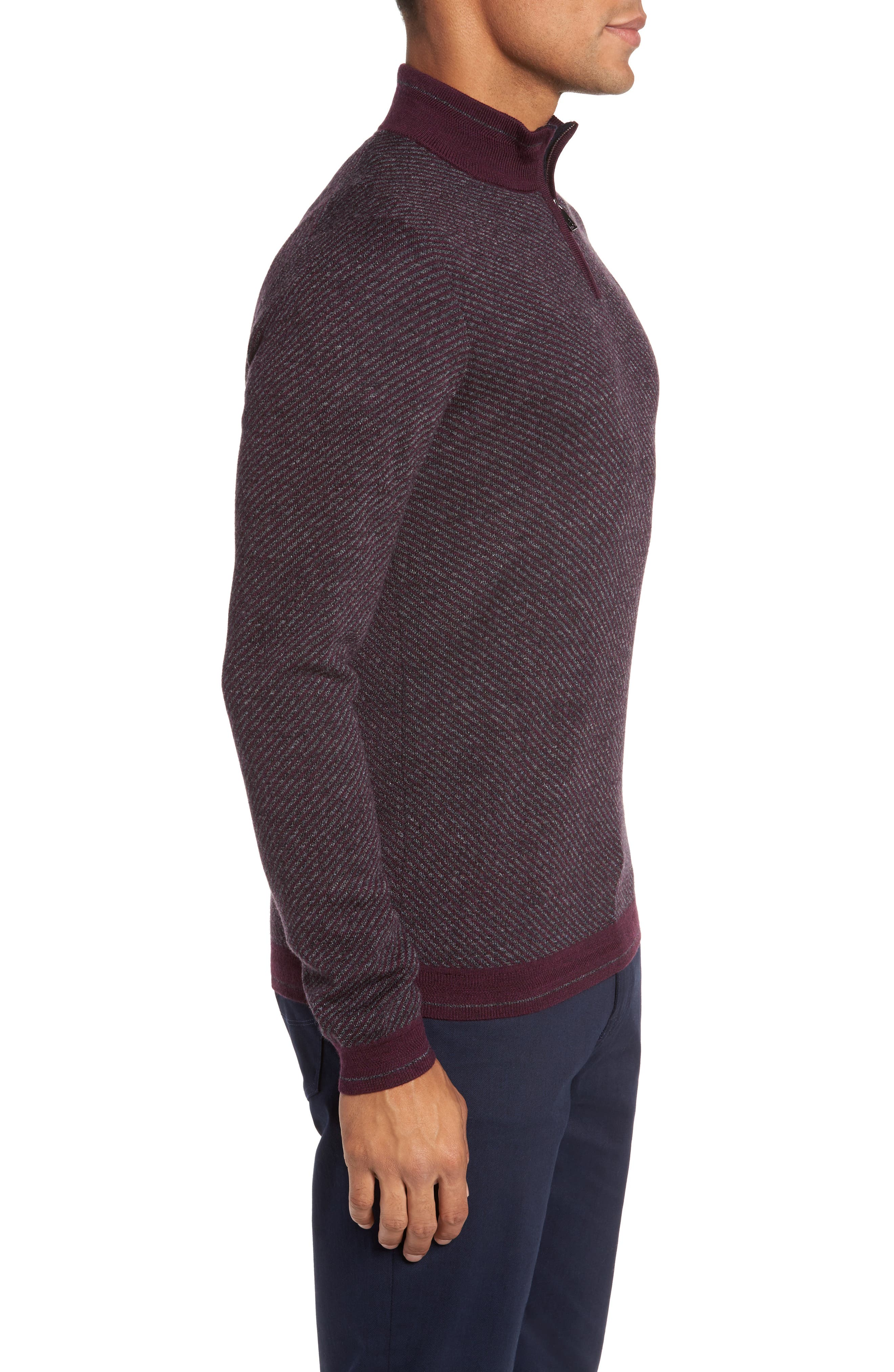 Alternate Image 3  - Ted Baker London Stripe Quarter Zip Sweater
