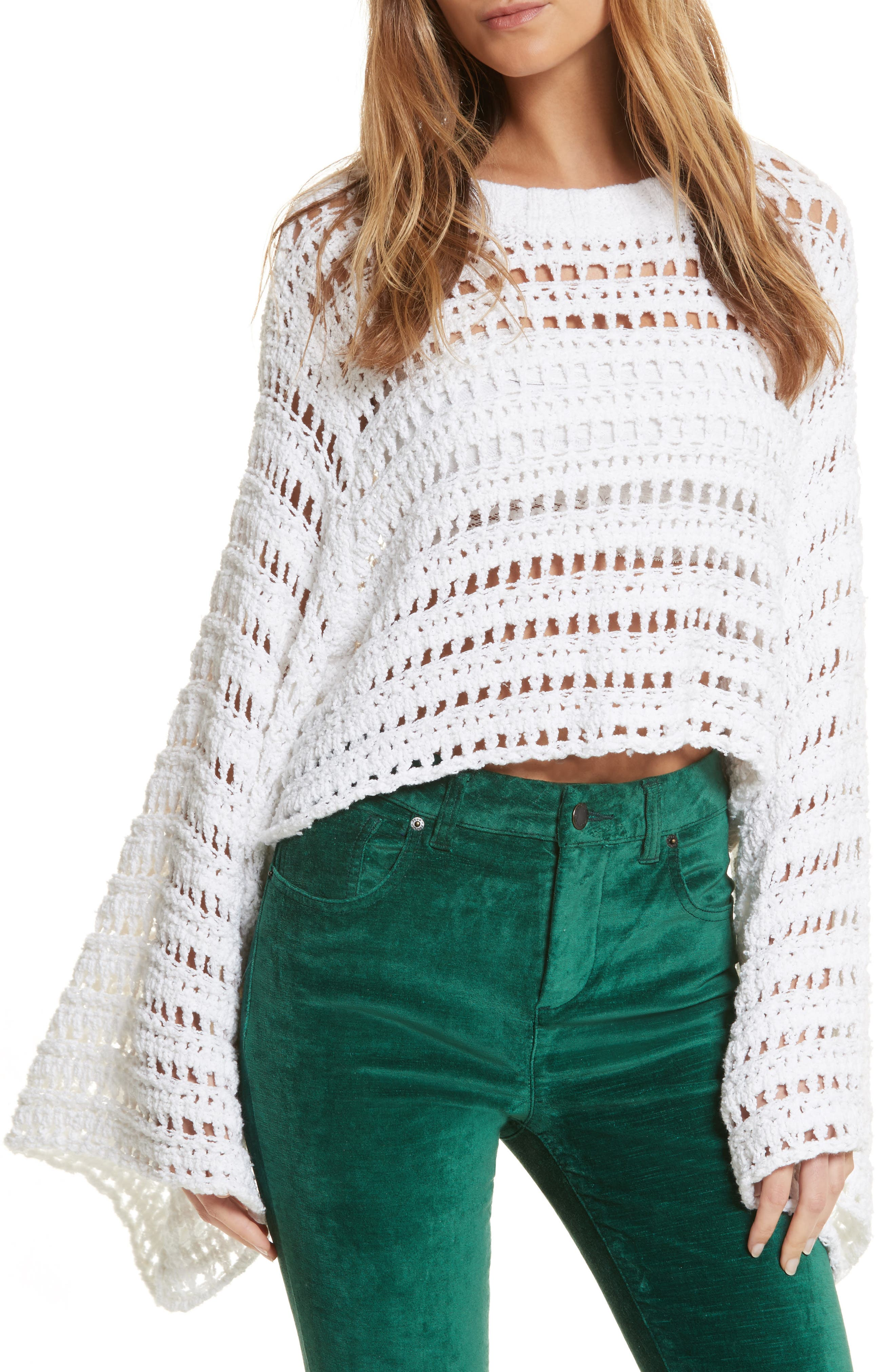 Caught Up Crochet Top,                         Main,                         color, White