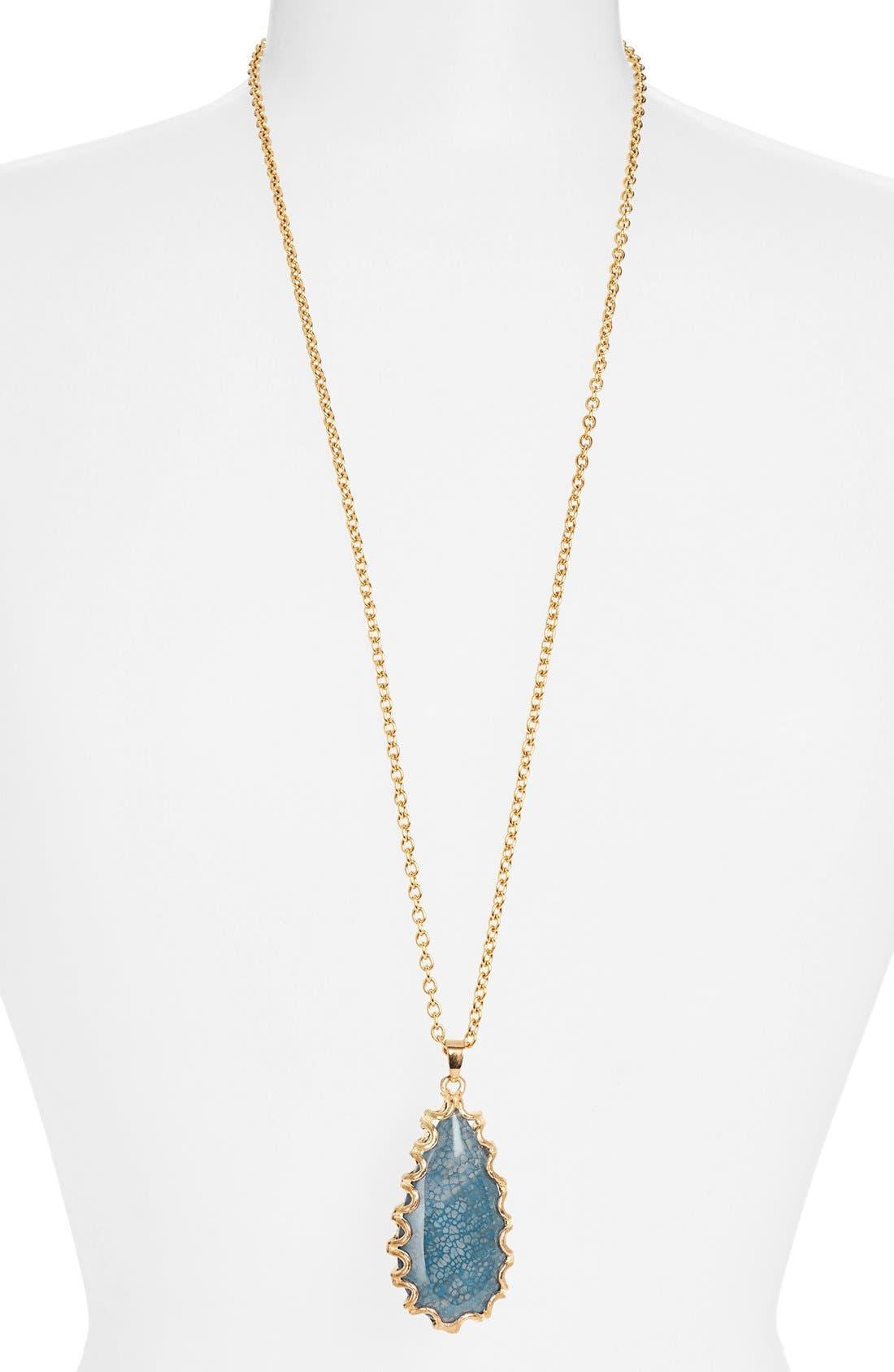 'Sorcerer's Stone' Long Teardrop Pendant Necklace,                         Main,                         color, Blue/Gold