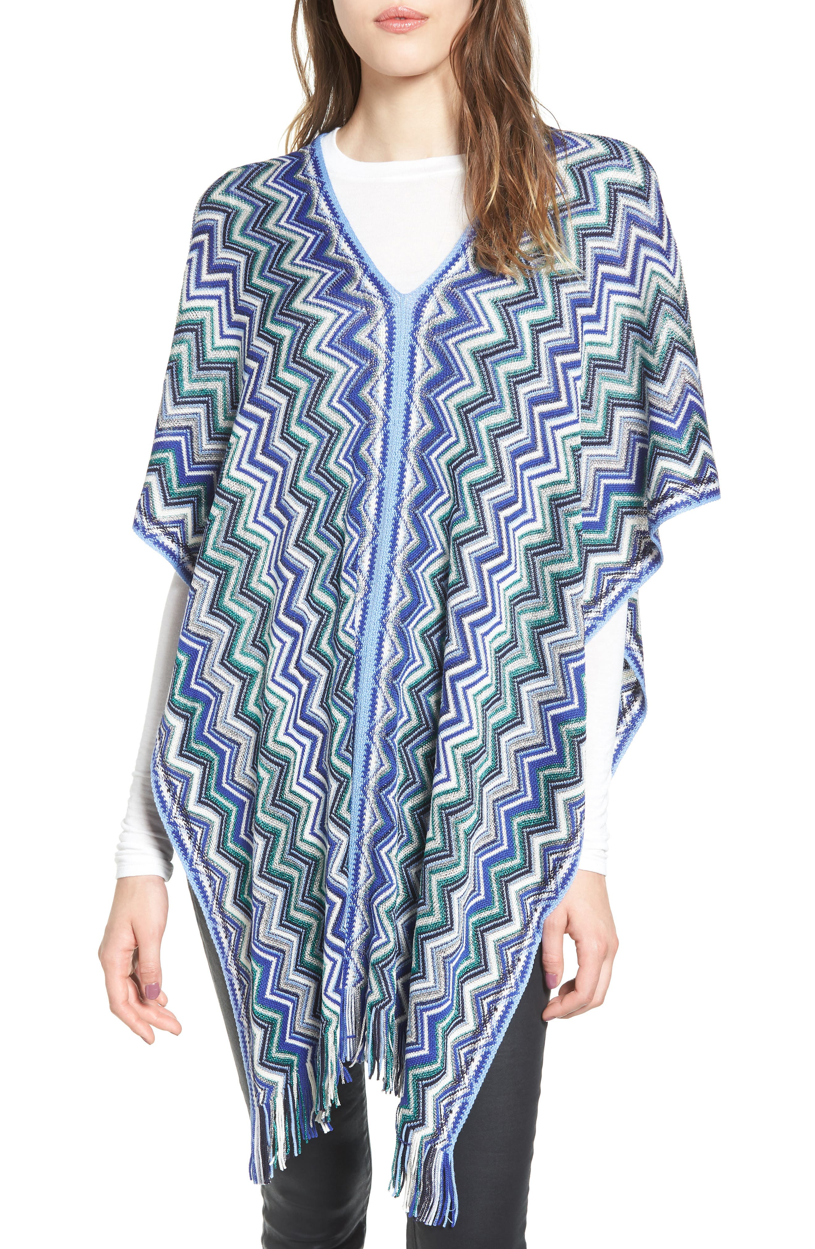 Fringe Poncho,                         Main,                         color, Blue