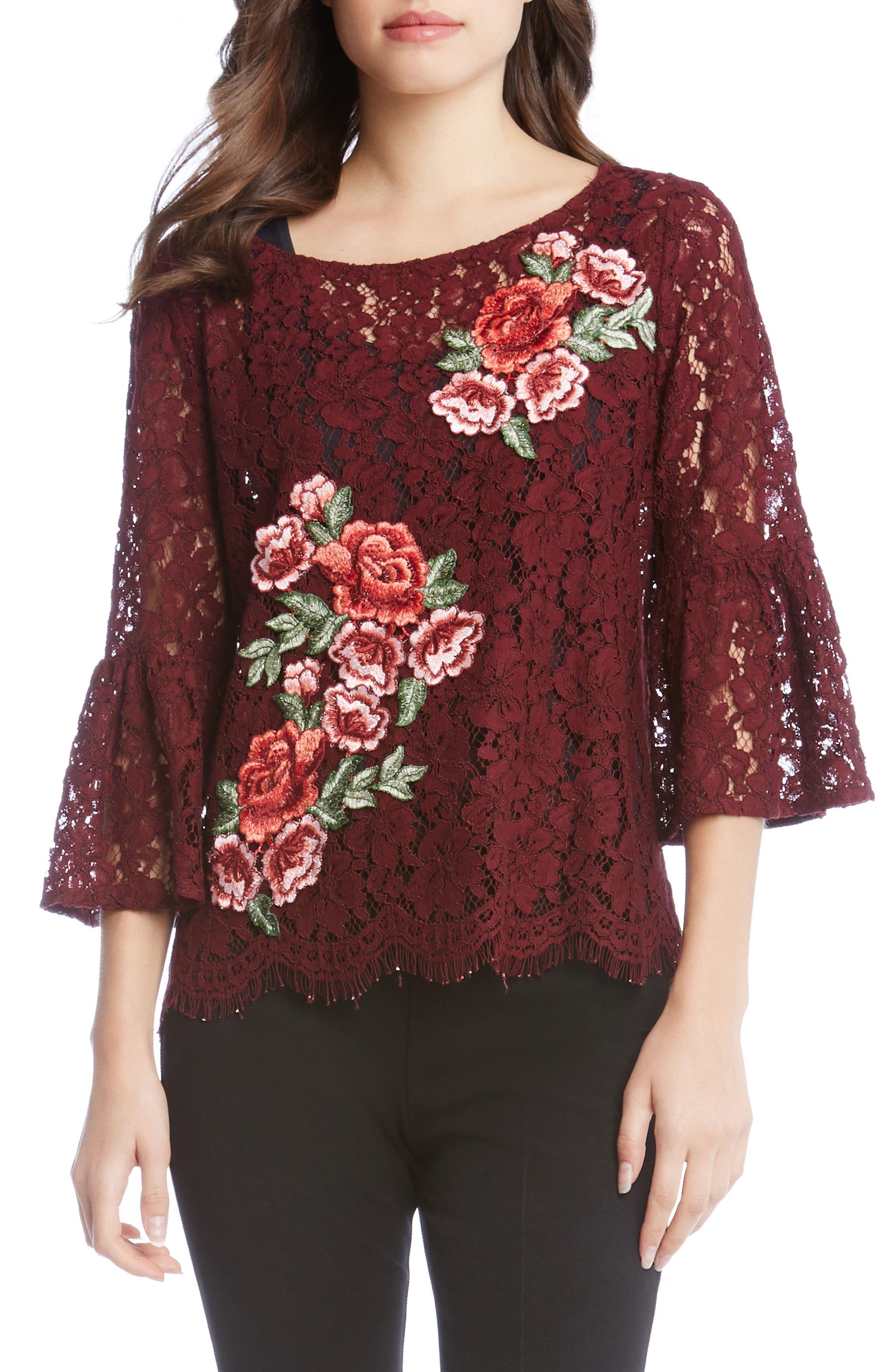 Alternate Image 1 Selected - Karen Kane Lace Embellished Bell Sleeve Top