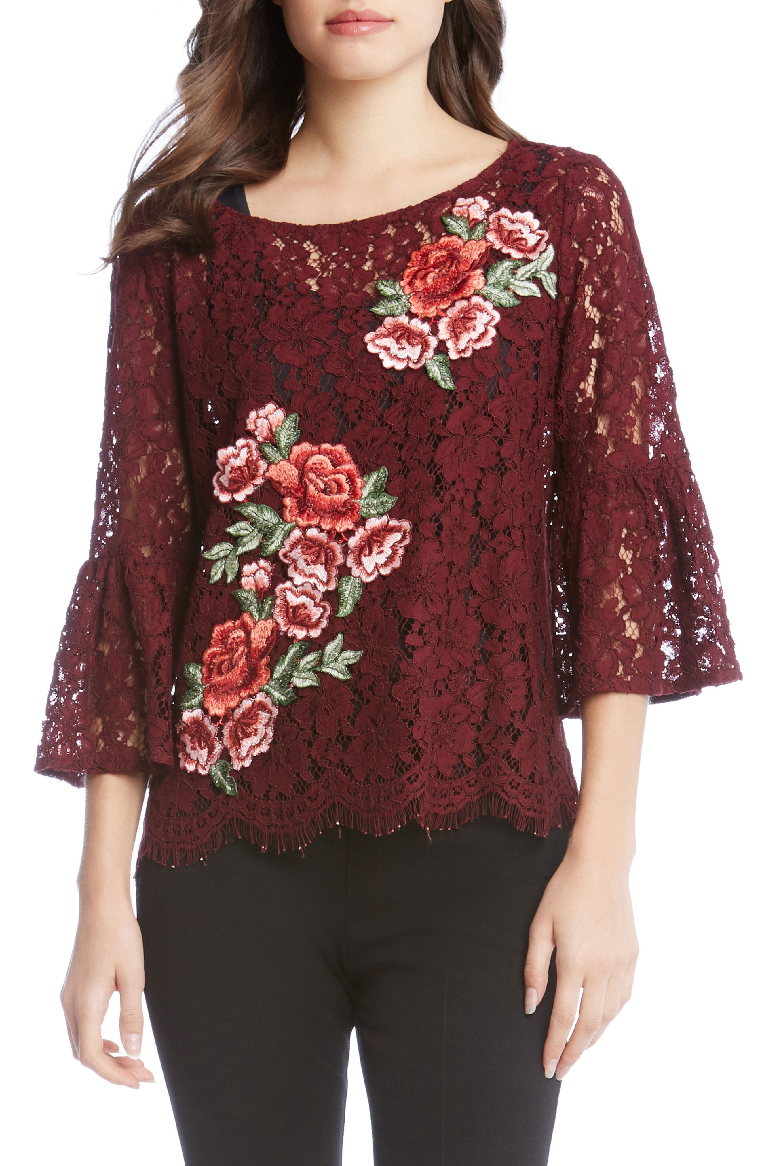 Main Image - Karen Kane Lace Embellished Bell Sleeve Top