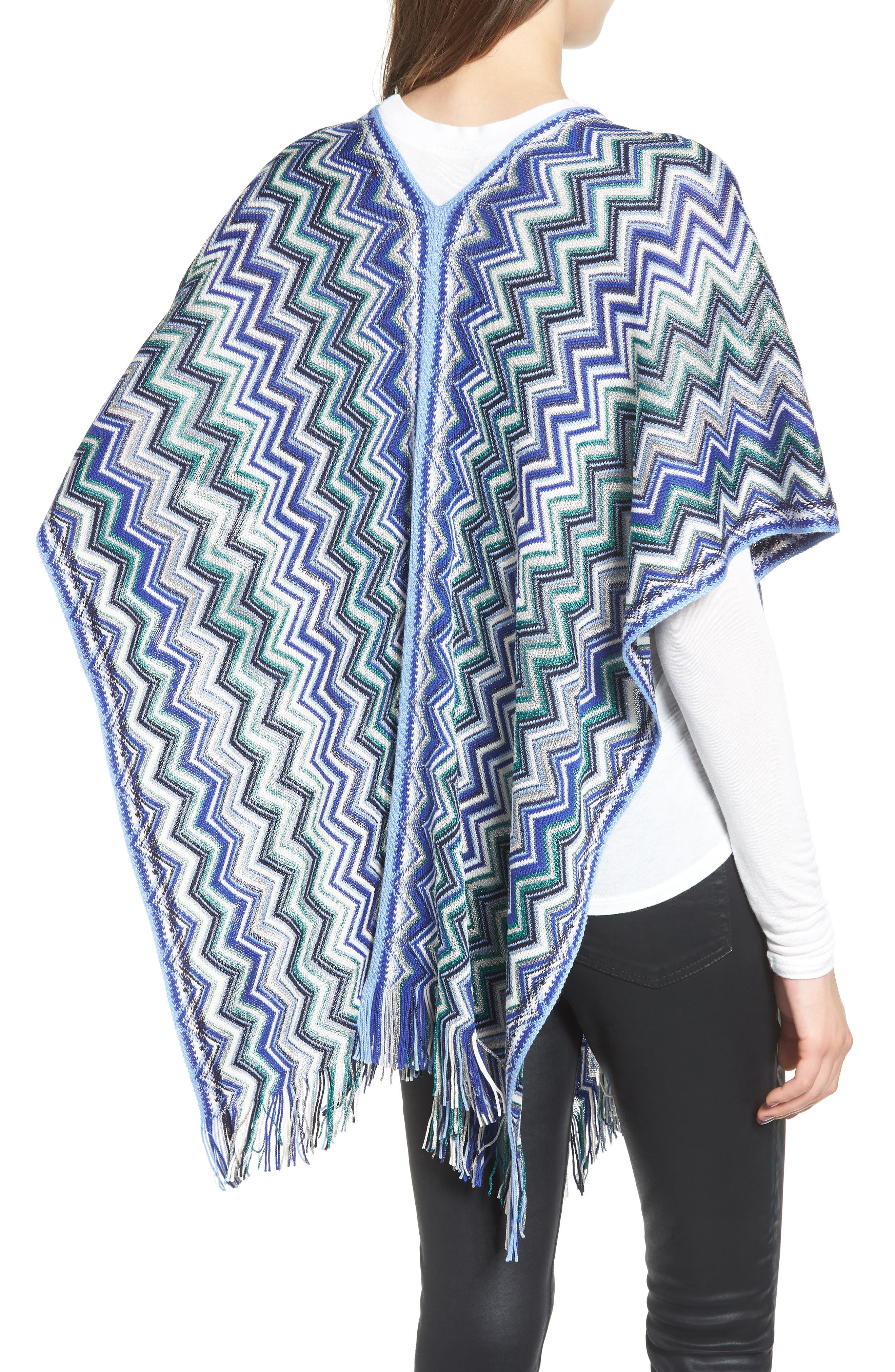 Fringe Poncho,                             Alternate thumbnail 2, color,                             Blue