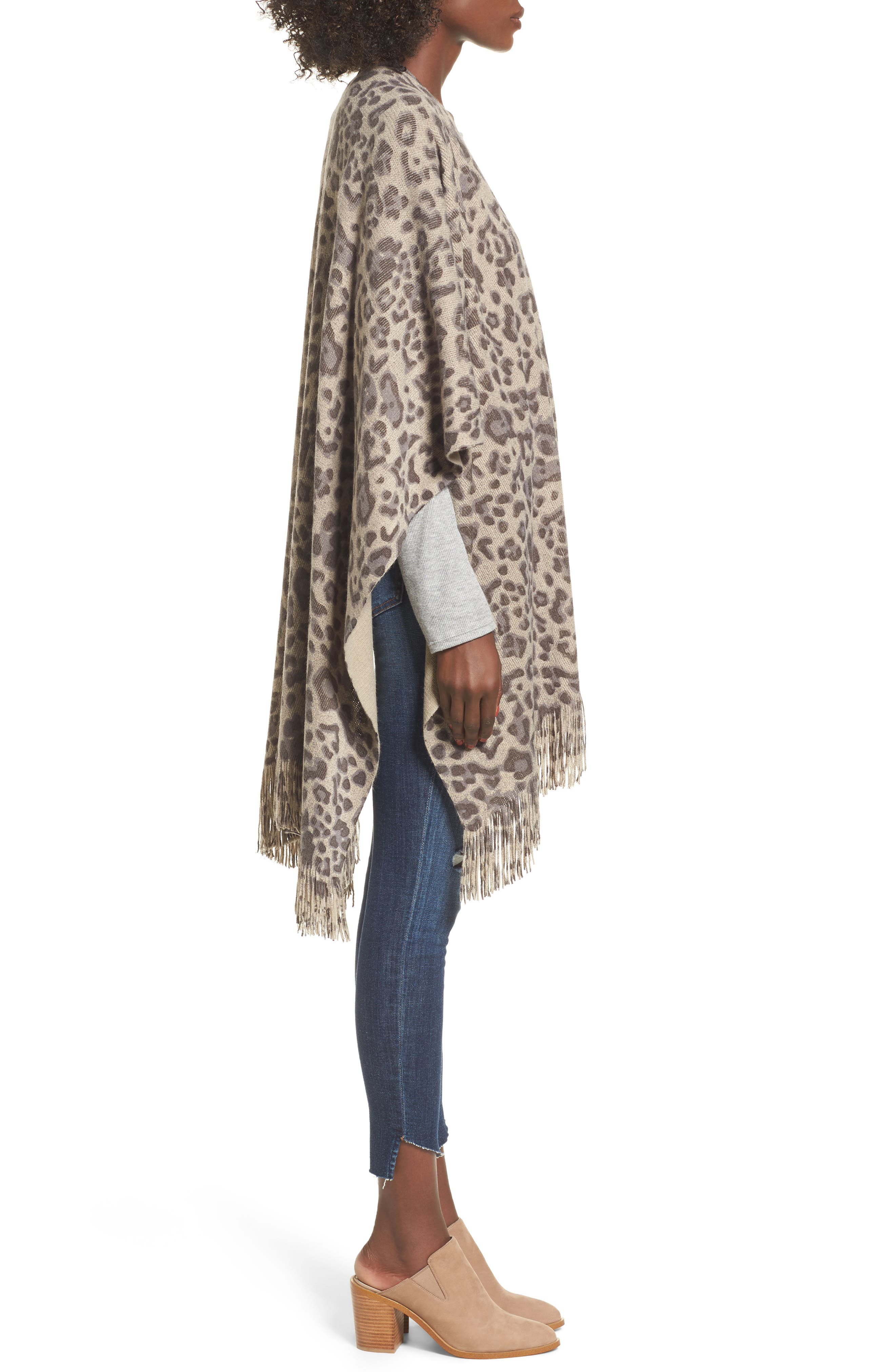 Alternate Image 3  - Sole Society Leopard Print Fringe Wrap