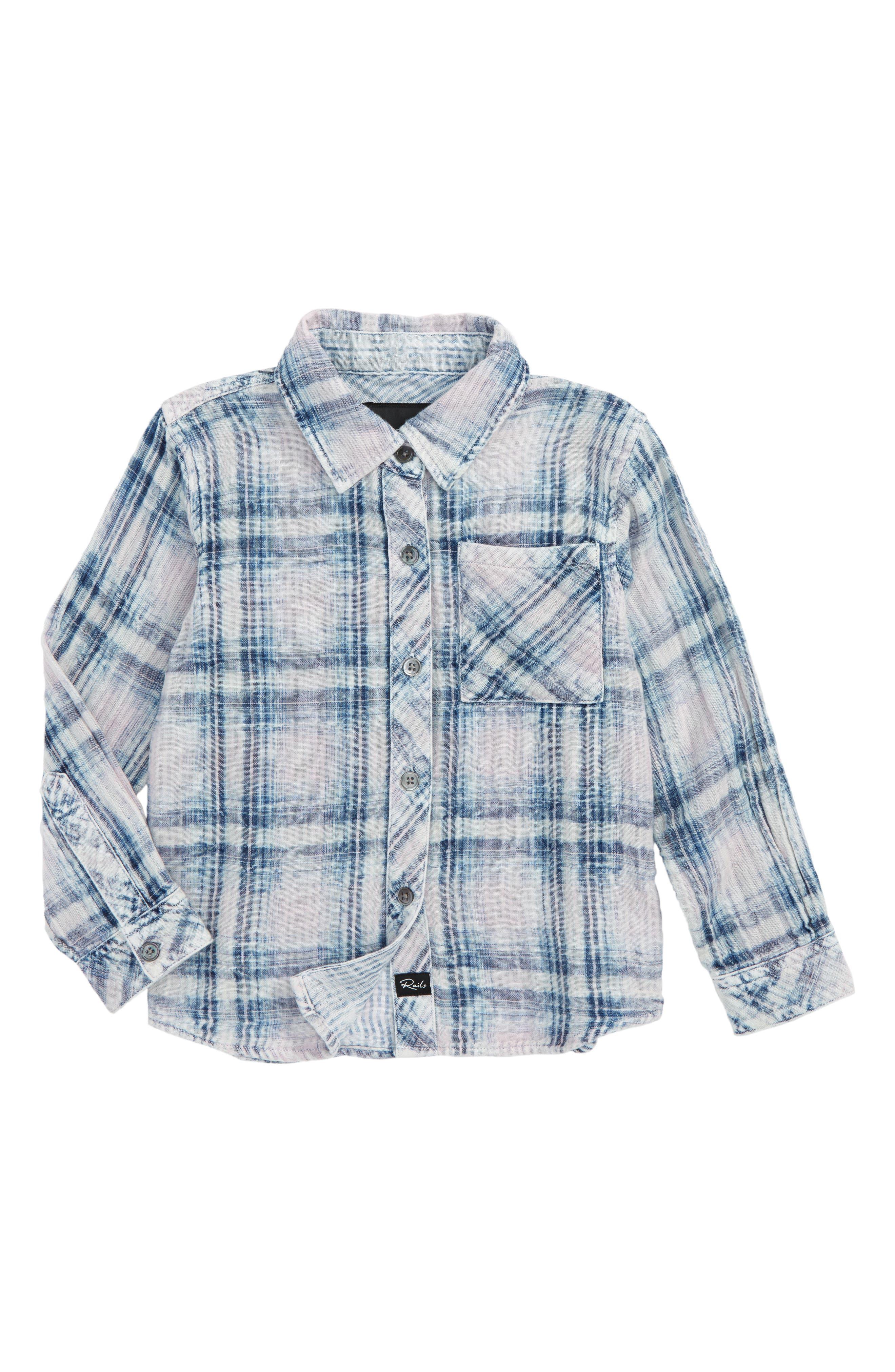 Hudson Plaid Shirt,                         Main,                         color, Rose / Indigo