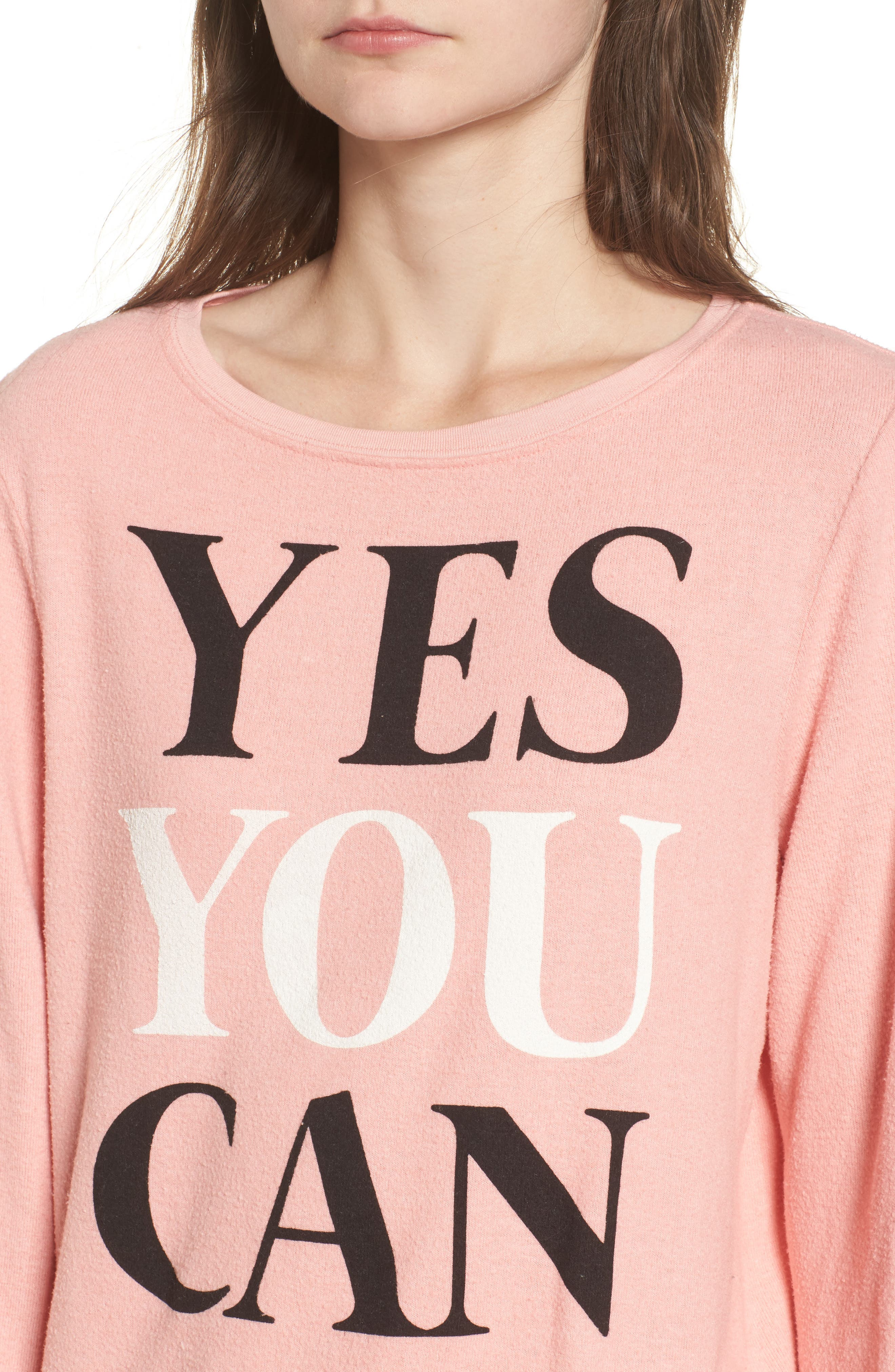 Yes You Can Sweatshirt,                             Alternate thumbnail 4, color,                             Peony
