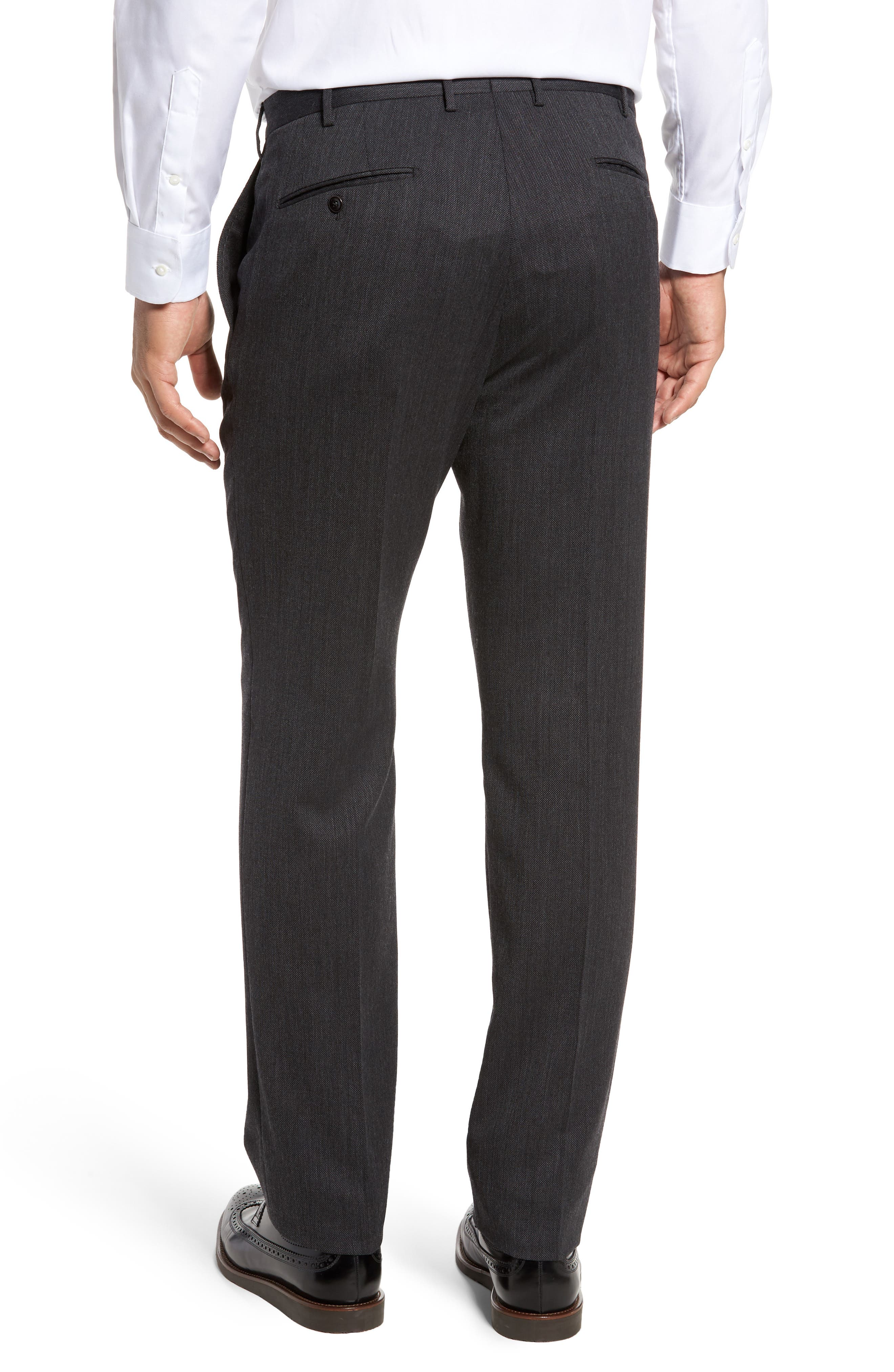 Benson Flat Front Wool Blend Trousers,                             Alternate thumbnail 3, color,                             Dark Grey
