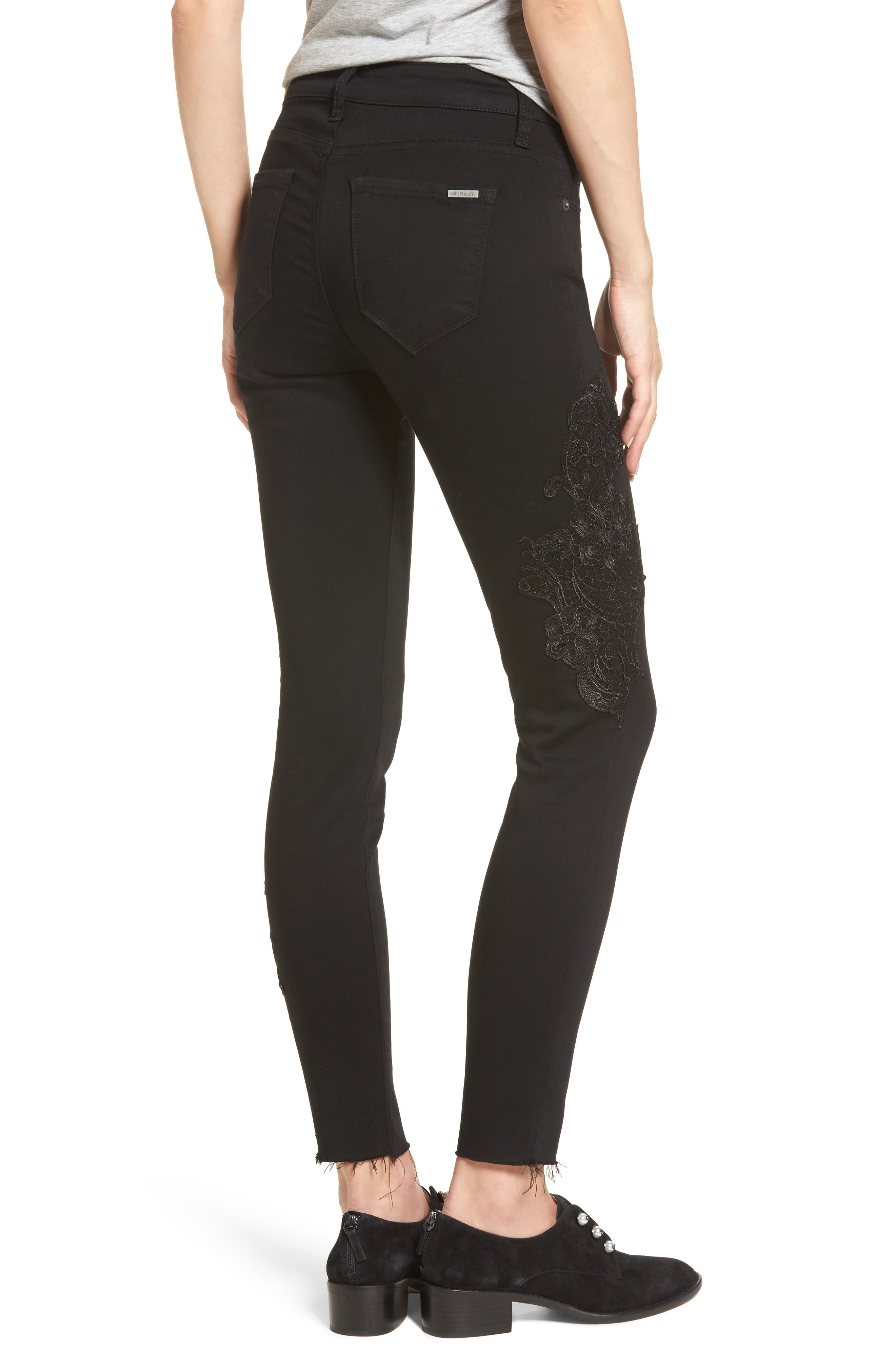 Alternate Image 2  - STS Blue Piper Lace Appliqué Skinny Ankle Jeans