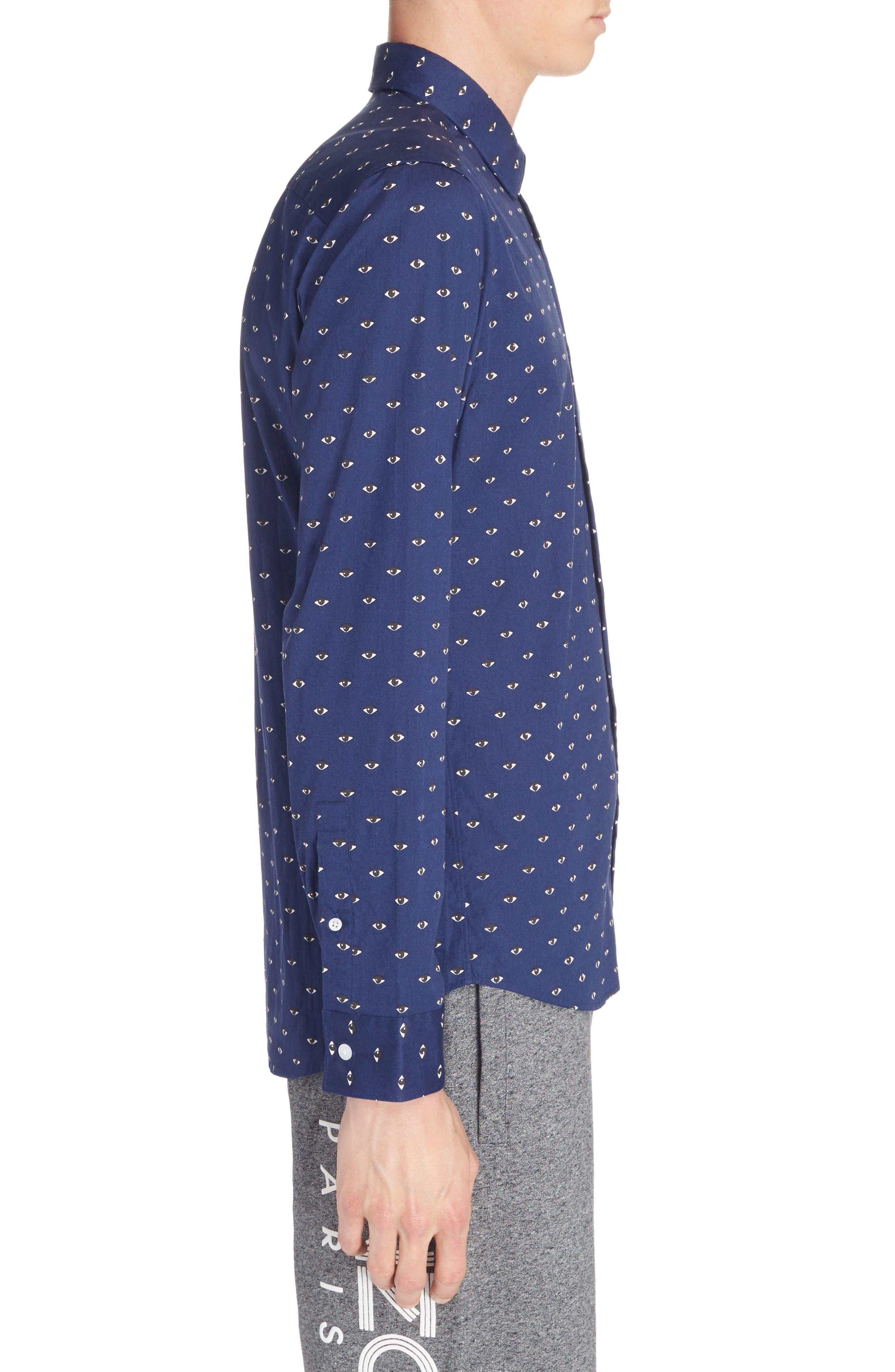 Allover Eye Print Woven Shirt,                             Alternate thumbnail 4, color,                             Navy Blue
