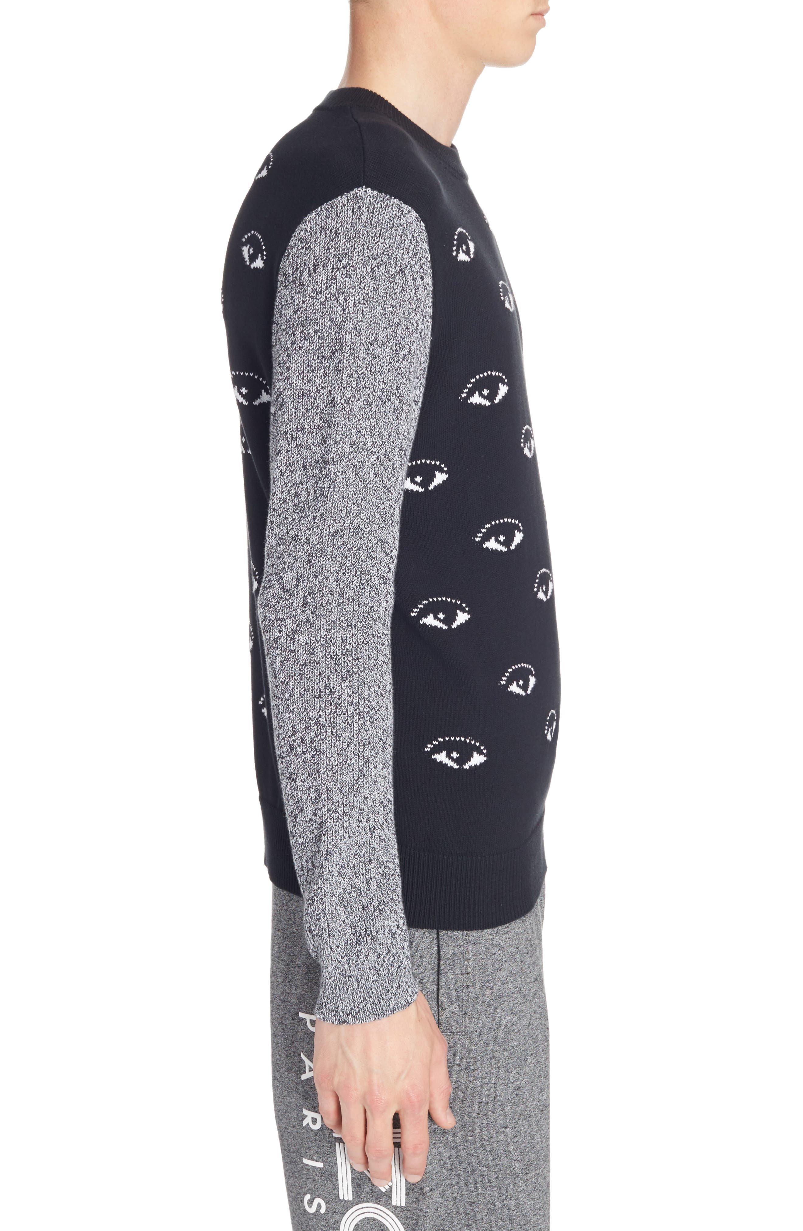 All Eyes Print Crewneck Sweater,                             Alternate thumbnail 3, color,                             Black