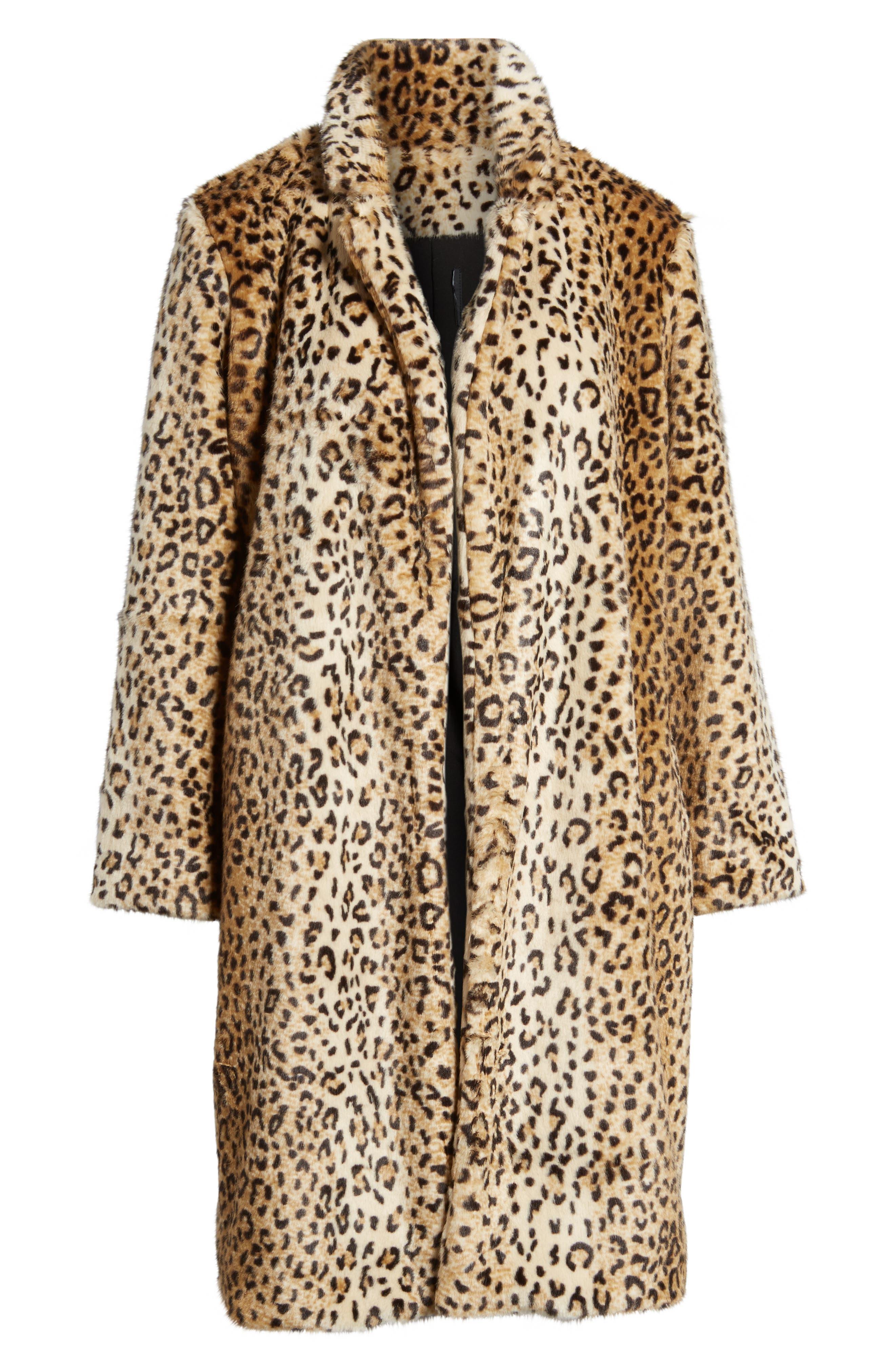 Alternate Image 6  - Chelsea28 Leopard Print Faux Fur Jacket