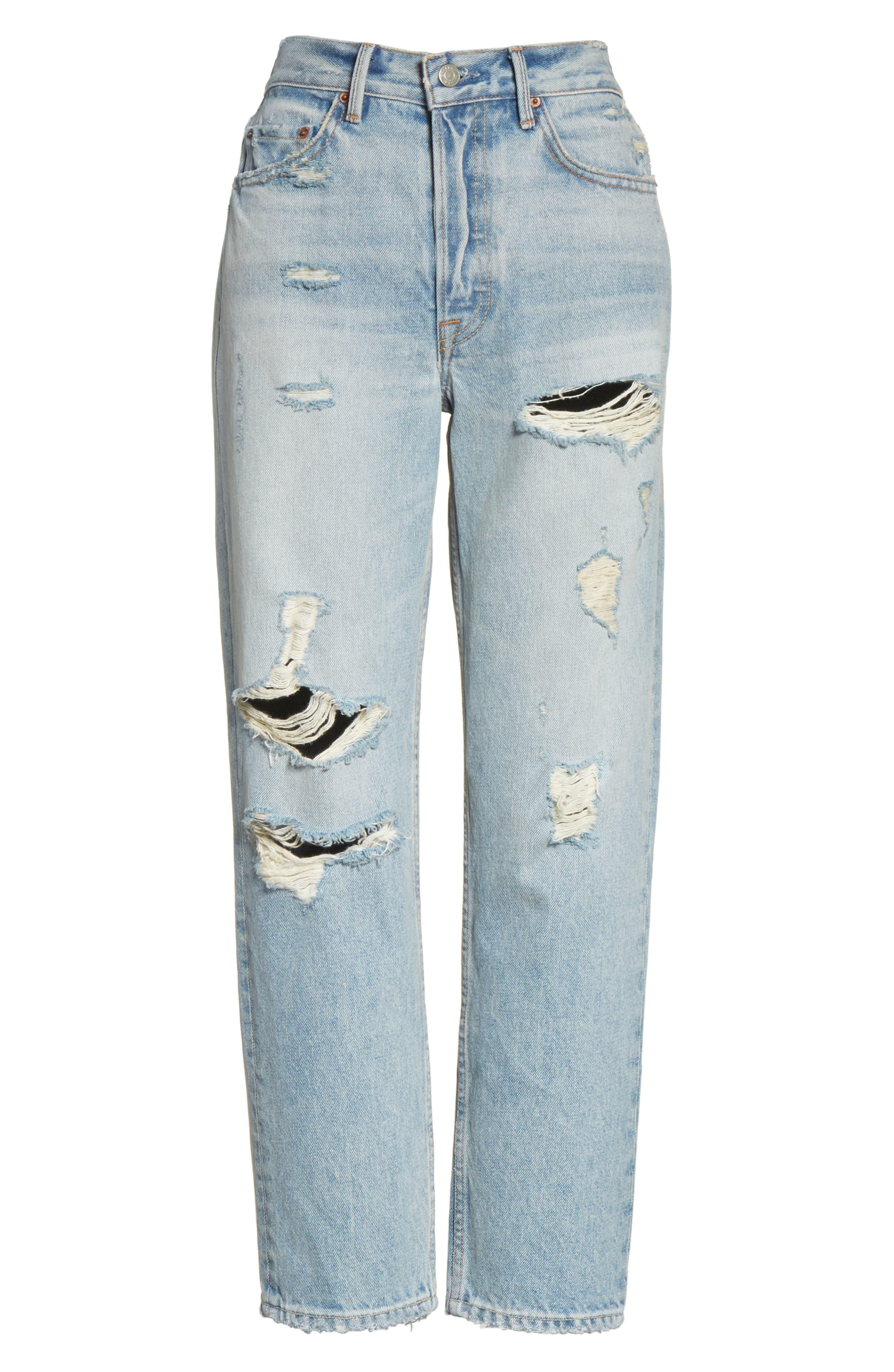 Alternate Image 6  - GRLFRND Helena Ripped Rigid High Waist Straight Jeans (Reese)