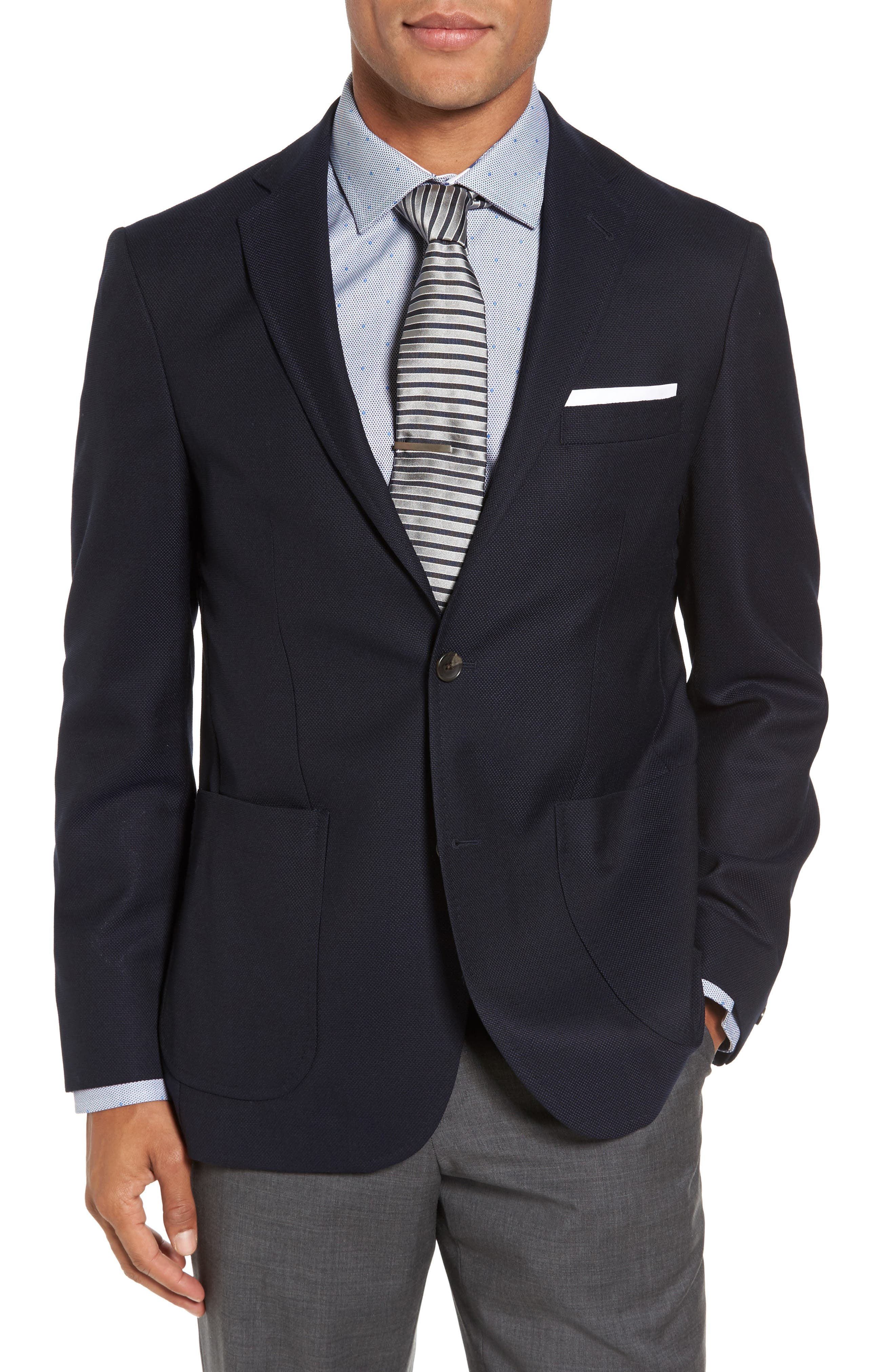 Vantage Trim Fit Wool Blazer,                         Main,                         color, Navy Hopsack